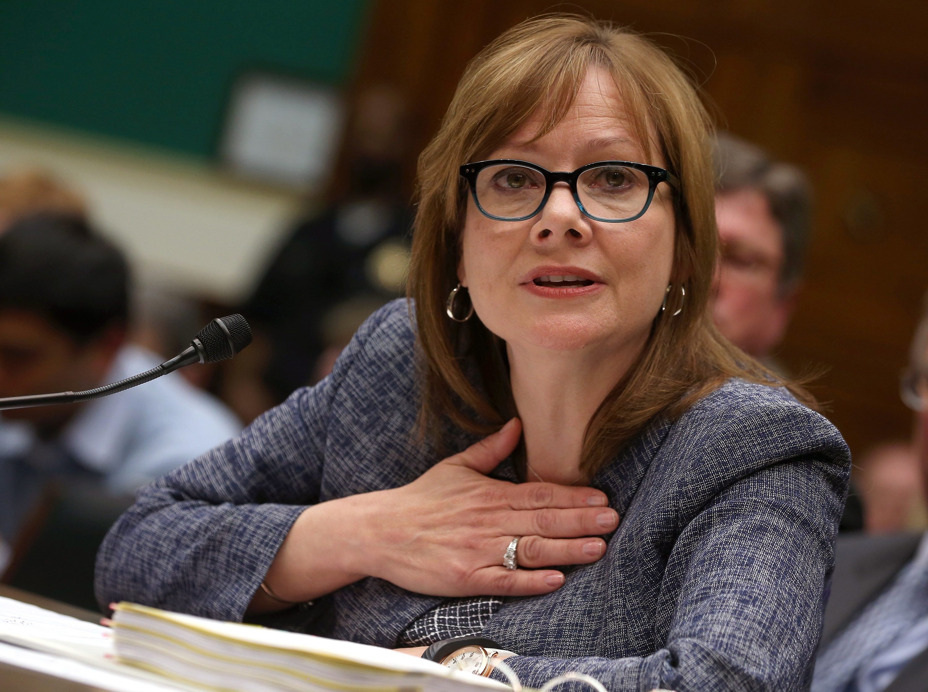 General Motors Company CEO Mary Barra testifies during a House Energy and Commerce Committee hearing on Capitol Hill, on April 1, 2014 in Washington, DC.