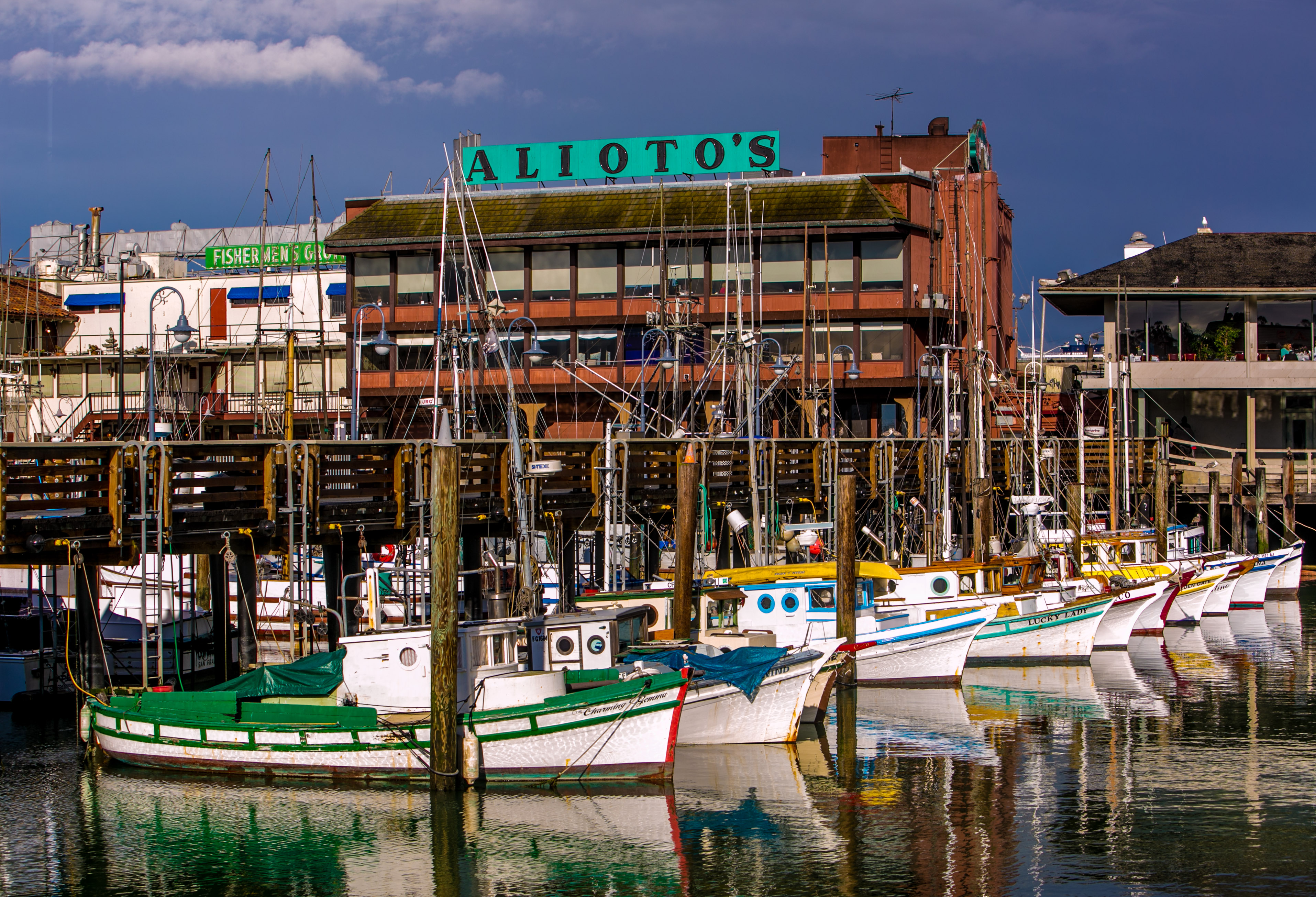 Fishing boats are docked at Fisherman's Wharf on April 1, 2014, in San Francisco, California.