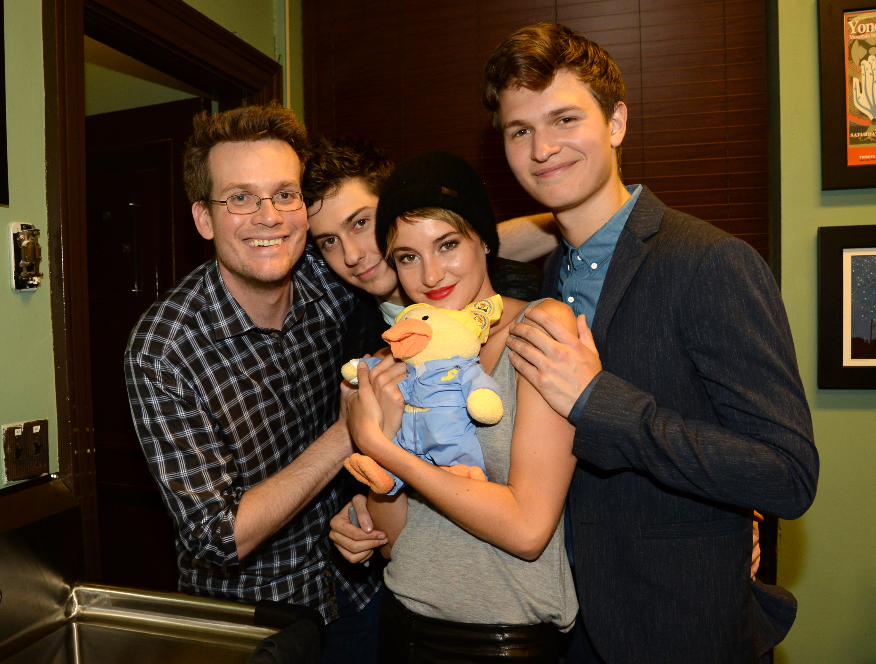 John Green, Nat Wolff, Shailene Woodley, and Ansel Elgort attend  The Fault In Our Stars  Nashville red carpet and fan event with Shailene Woodley, Ansel Elgort, Nat Wolff and John Green at Nashville War Memorial Auditorium on May 8, 2014 in Nashville, Tennessee.