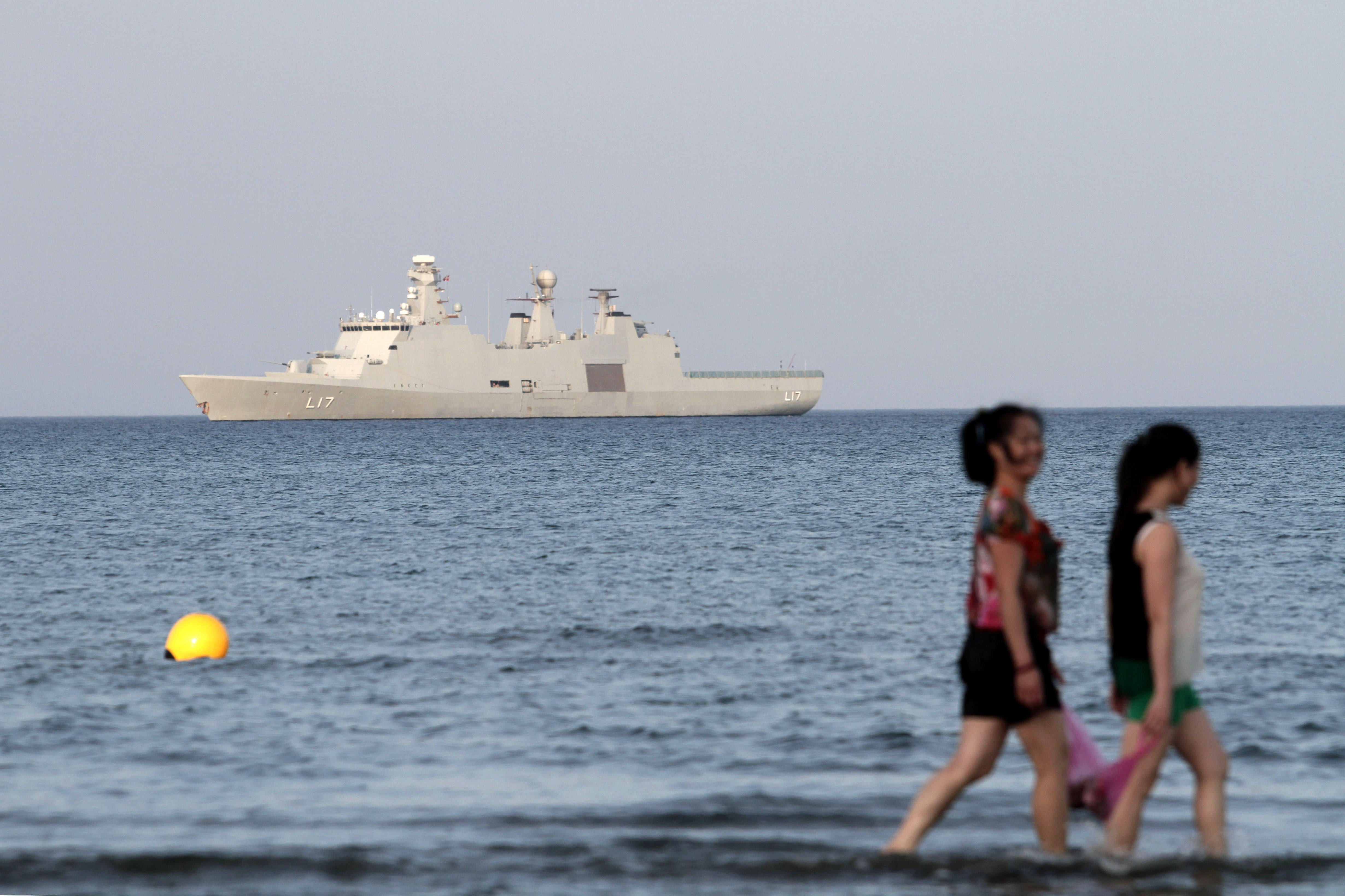 Danish navy vessel HDMS Esbern Snare leads the Danish-Norwegian-British task force in the OPCW program outside southern Cypriot coastal town of Larnaca on May 13, 2014