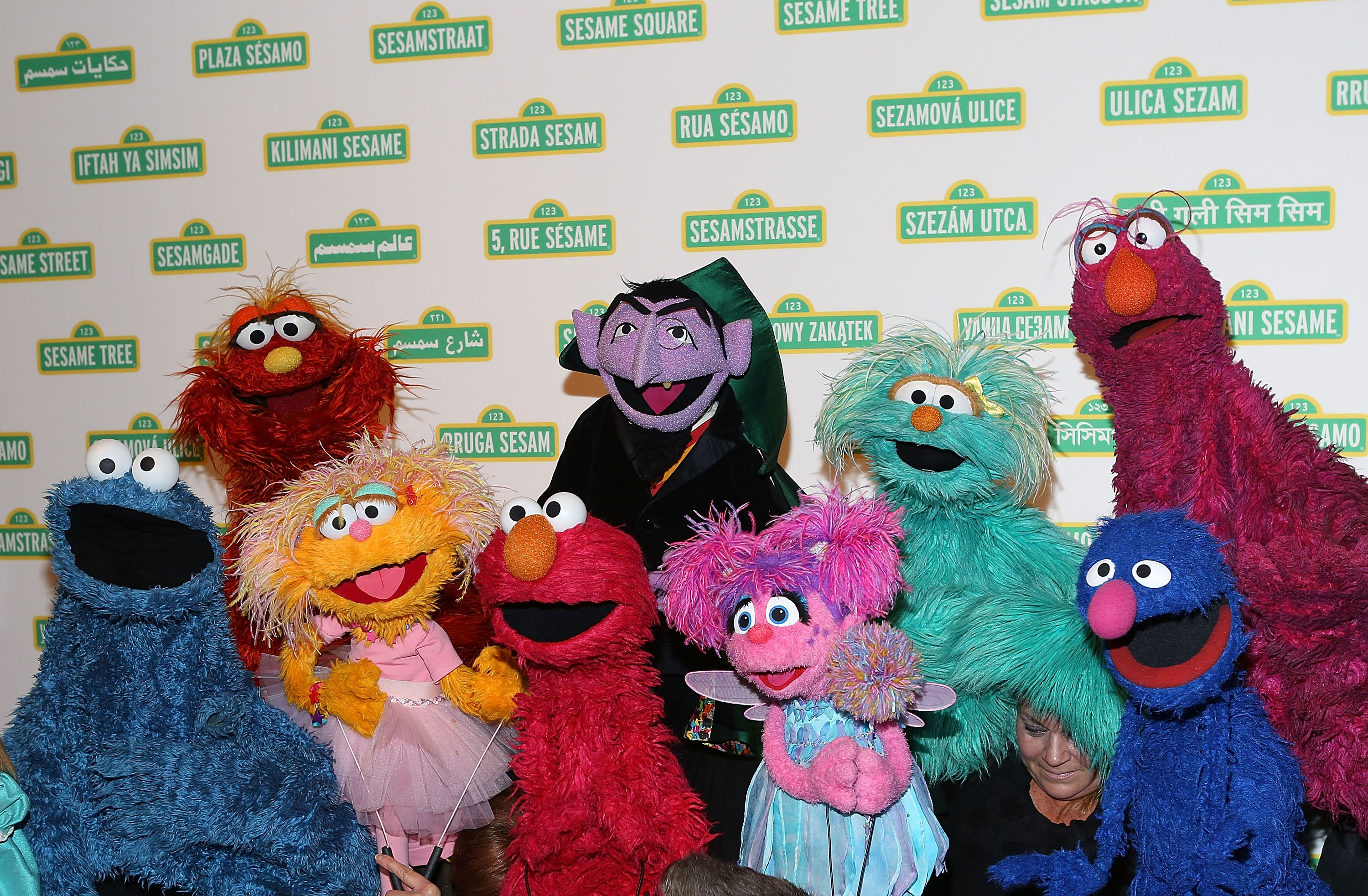 Many of the Sesame Street characters at the 12th annual Sesame Workshop Benefit Gala at Cipriani 42nd Street on May 28, 2014 in New York City.