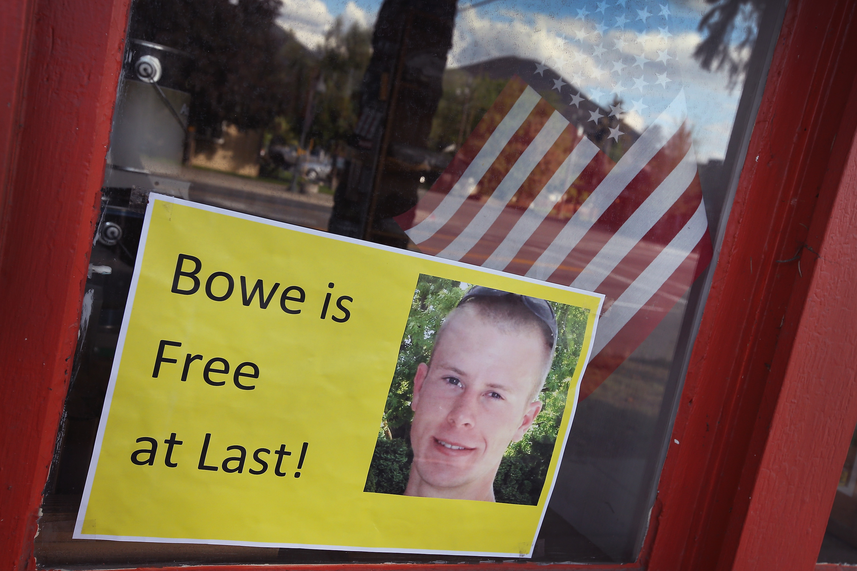 A sign hailing Sergeant Bowe Bergdahl's release in a Main Street window in his hometown of Hailey, Idaho.