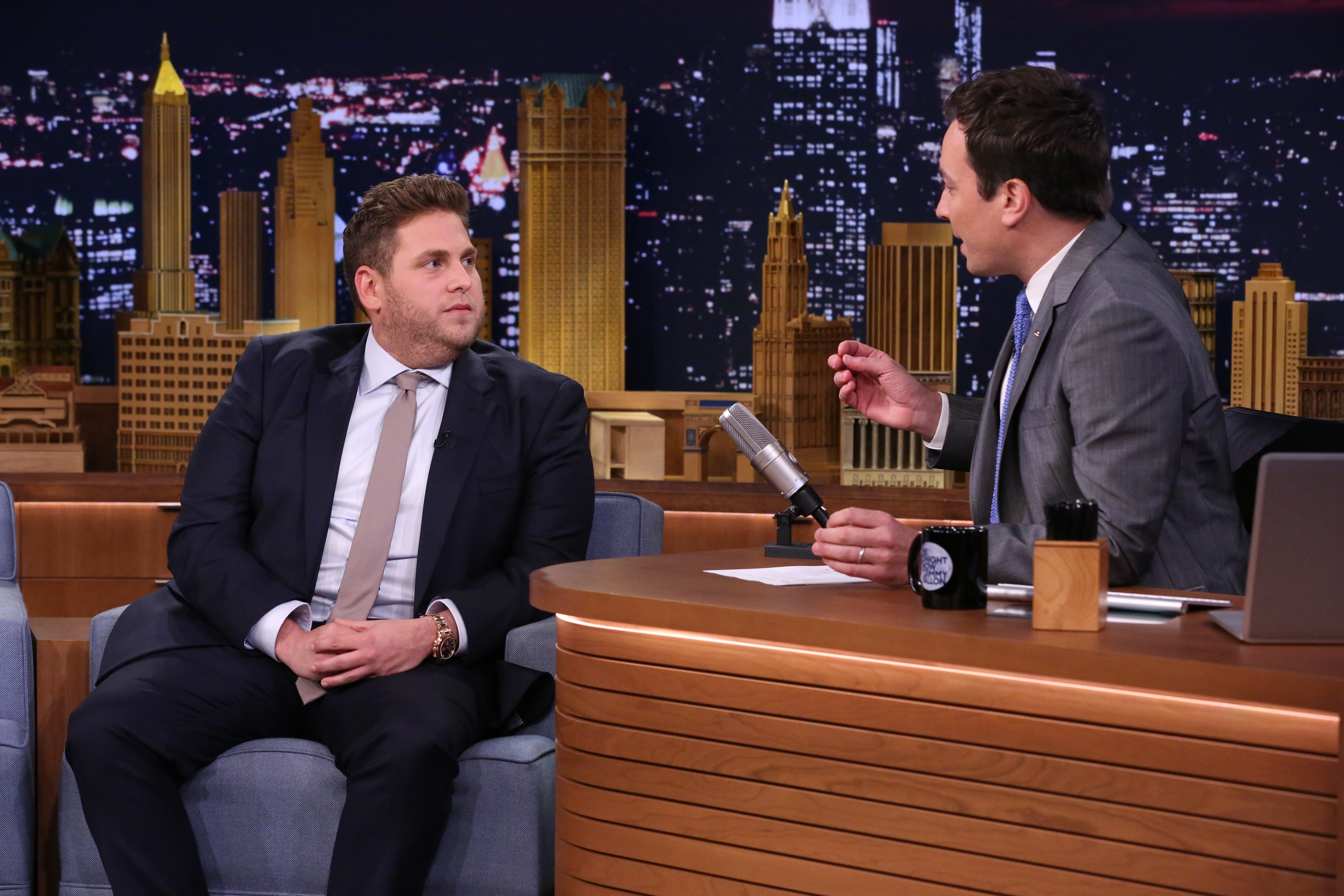 Jonah Hill during an interview with host Jimmy Fallon on June 3, 2014.