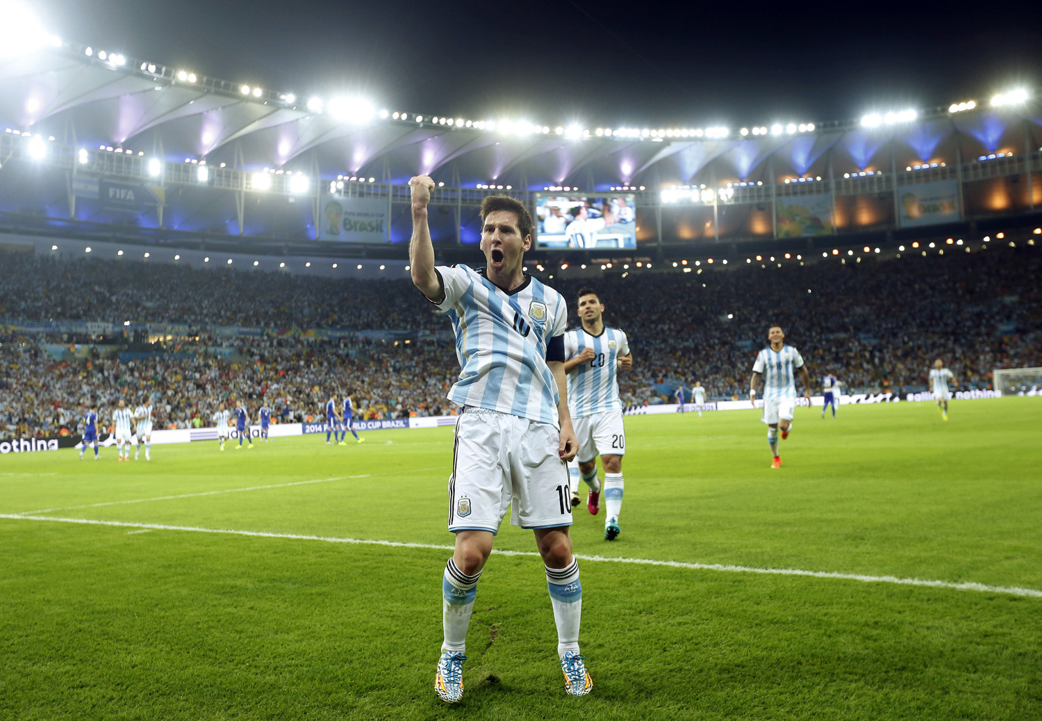 Argentina's Lionel Messi celebrates after scoring his side's second goal during the group F World Cup soccer match between Argentina and Bosnia at the Maracana Stadium in Rio de Janeiro on June 15, 2014.