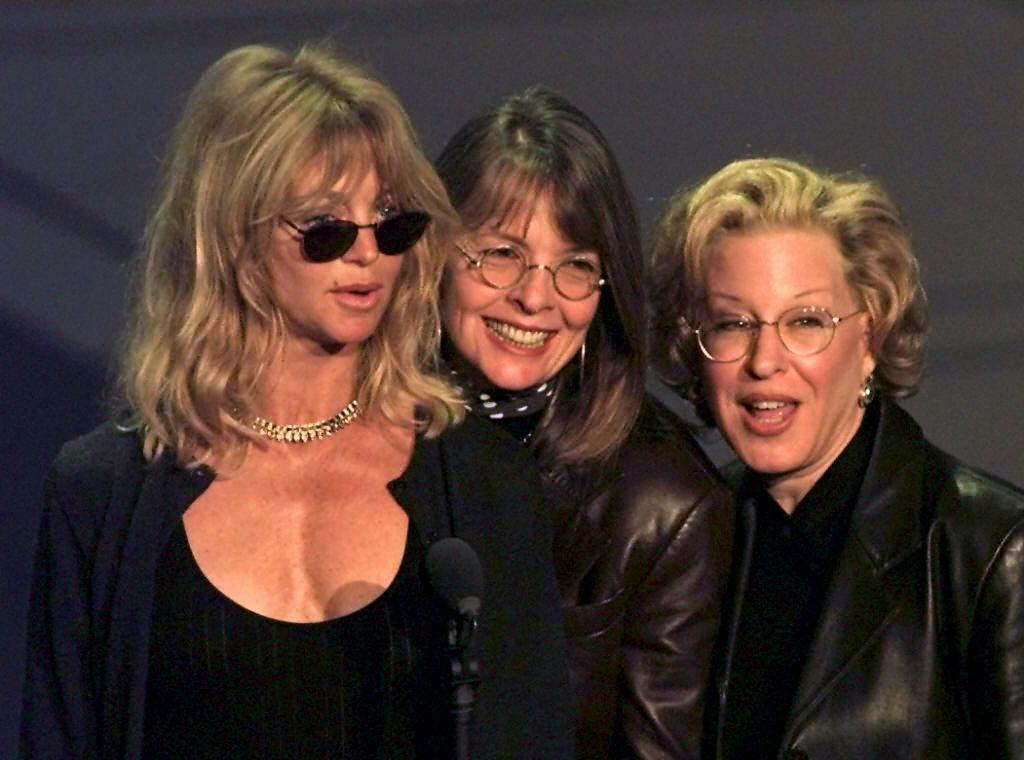 Actresses Goldie Hawn (L), Diane Keaton (C) and Bette Midler (R), who all starred in the movie the  First Wives Club,  rehearse for the 69th Academy Awards to held at the Shrine Auditorium in Los Angeles, California 24 March.( TIMOTHY A. -- CLARY/AFP/Getty Images)