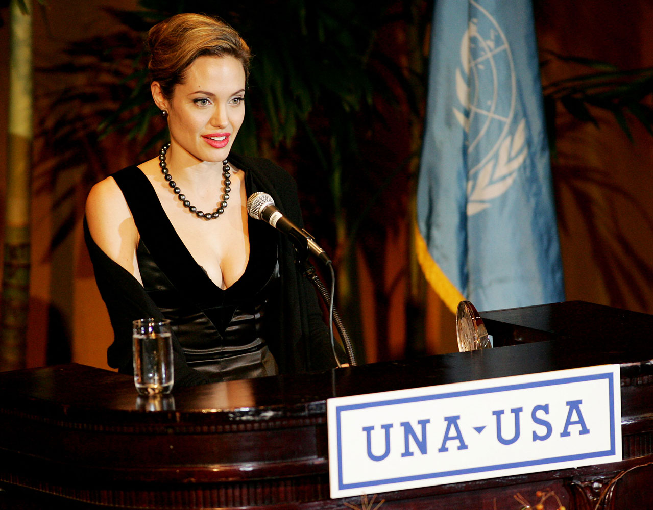 Angelina Jolie accepts the Global Humanitarian Award at the United Nations Association of the United States of America annual gala dinner at the Waldorf Astoria Hotel Oct. 11, 2005 in New York.