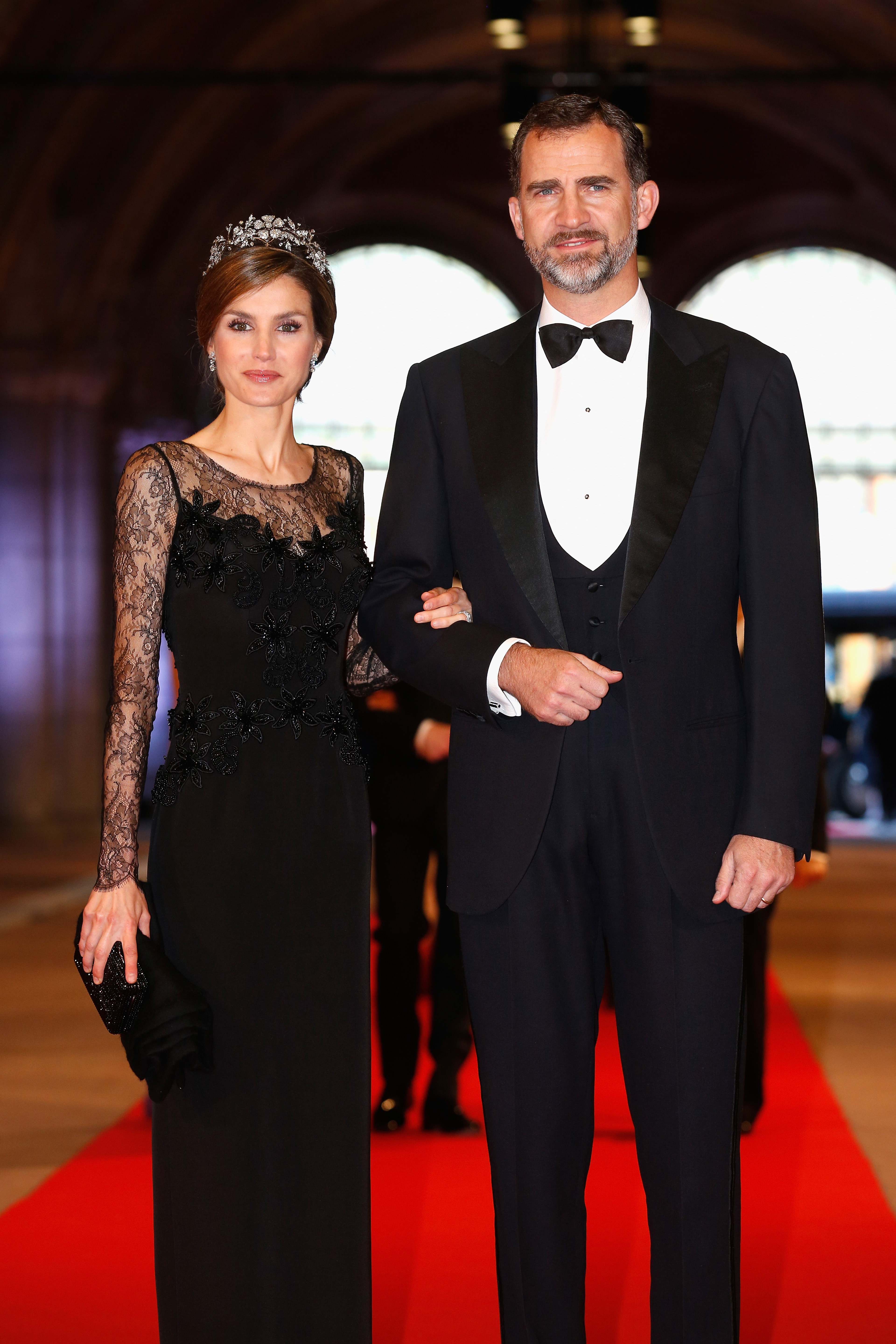 Princess Letizia and Prince Felipe attend a dinner hosted by Queen Beatrix of The Netherlands ahead of her abdication at Rijksmuseum on April 29, 2013 in Amsterdam.