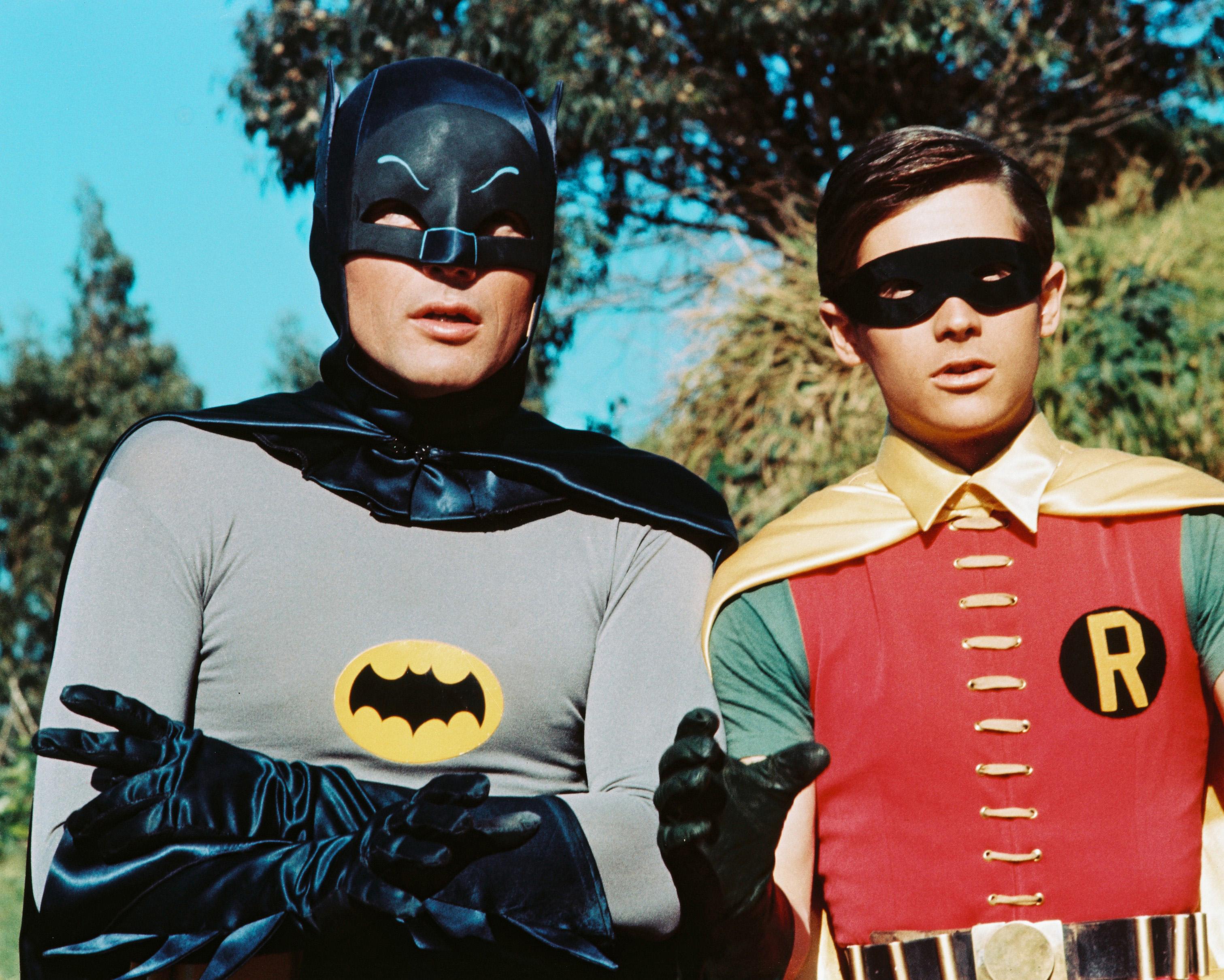 American actors Adam West as Bruce Wayne/Batman and Burt Ward as Dick Grayson/Robin in the TV series Batman, circa 1966