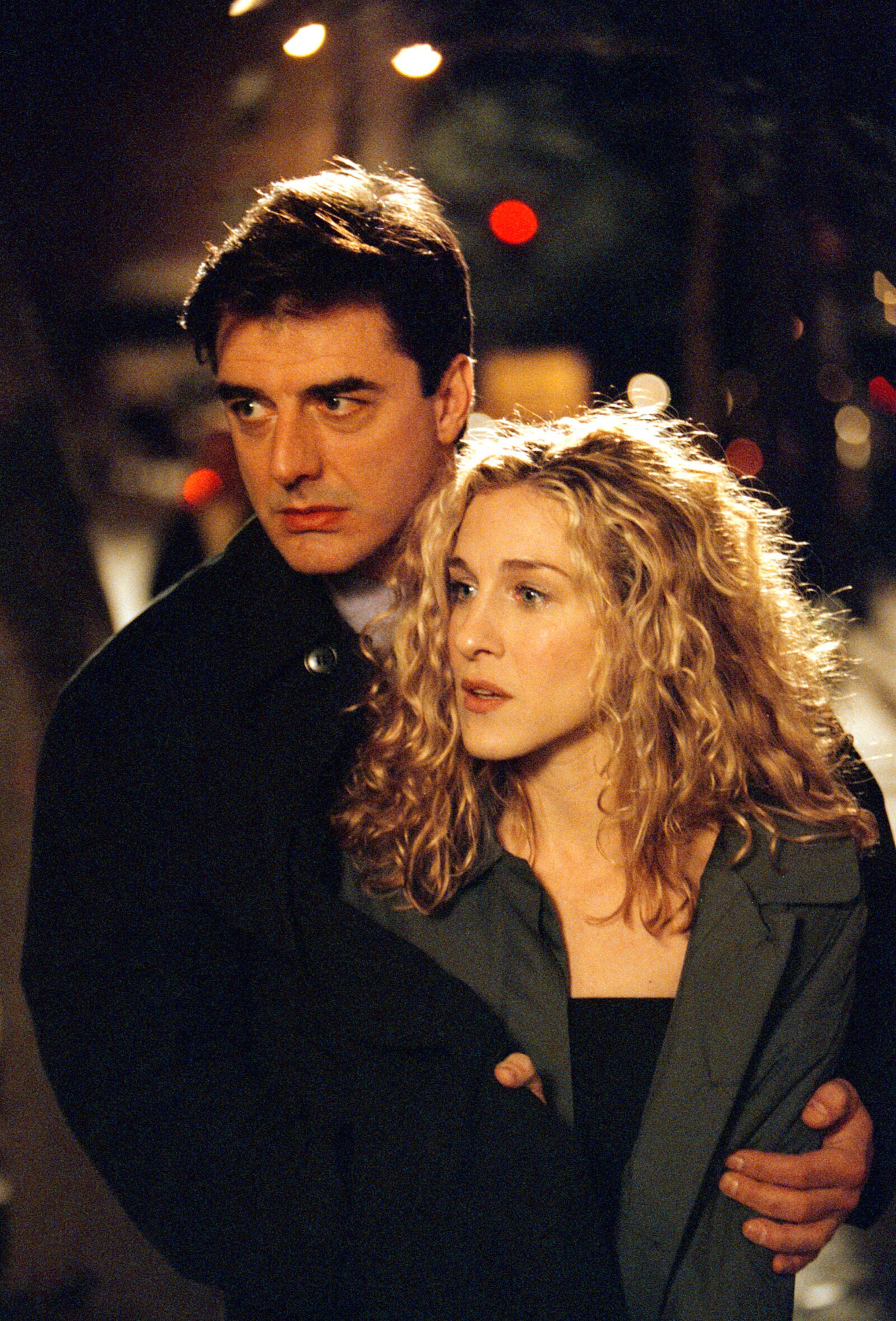 Actors Sarah Jessica Parker and Chris Noth on the set of  Sex and the City