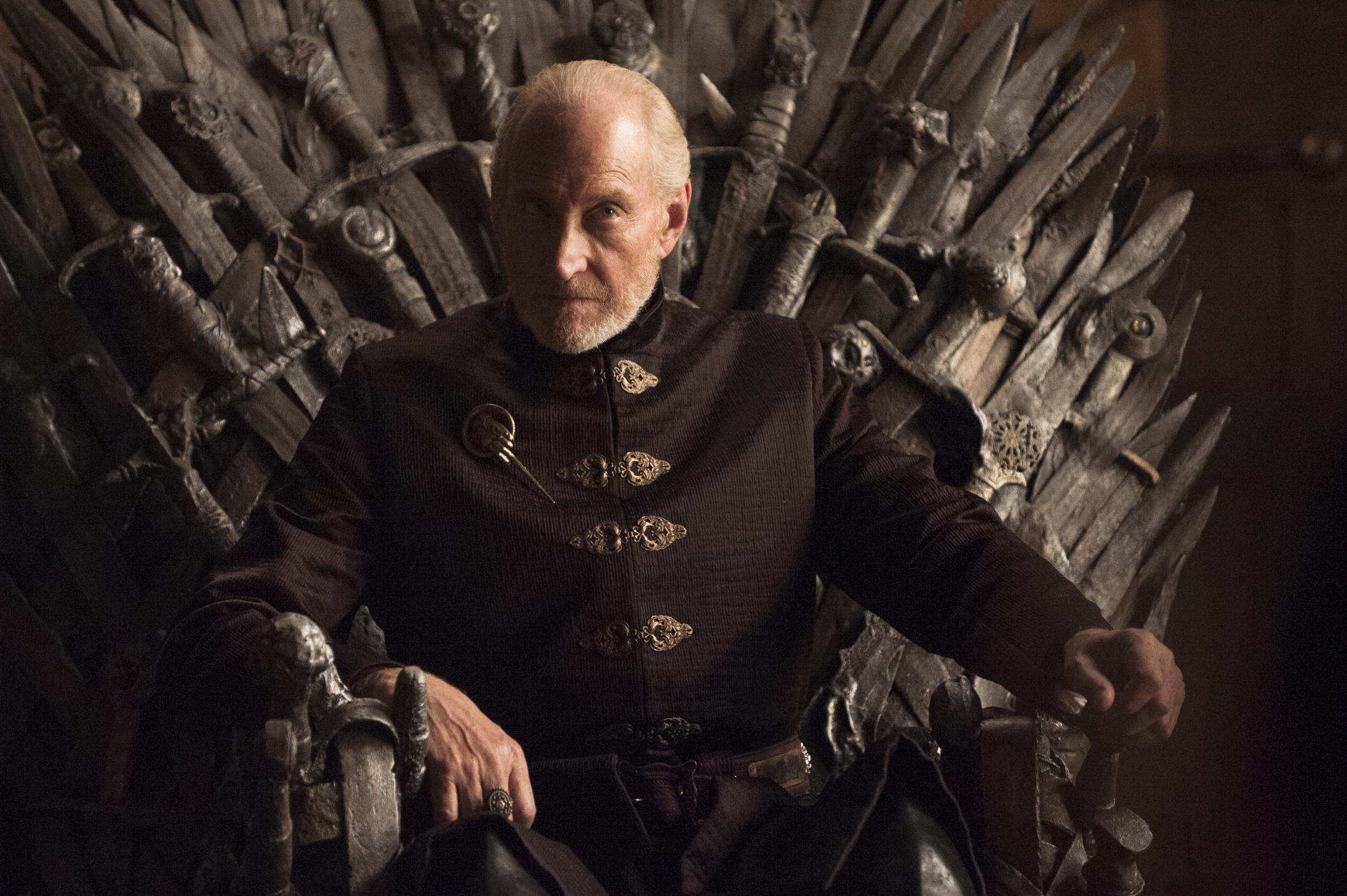 Tywin (Charles Dance) on what is, alas, not the final throne he occupied.