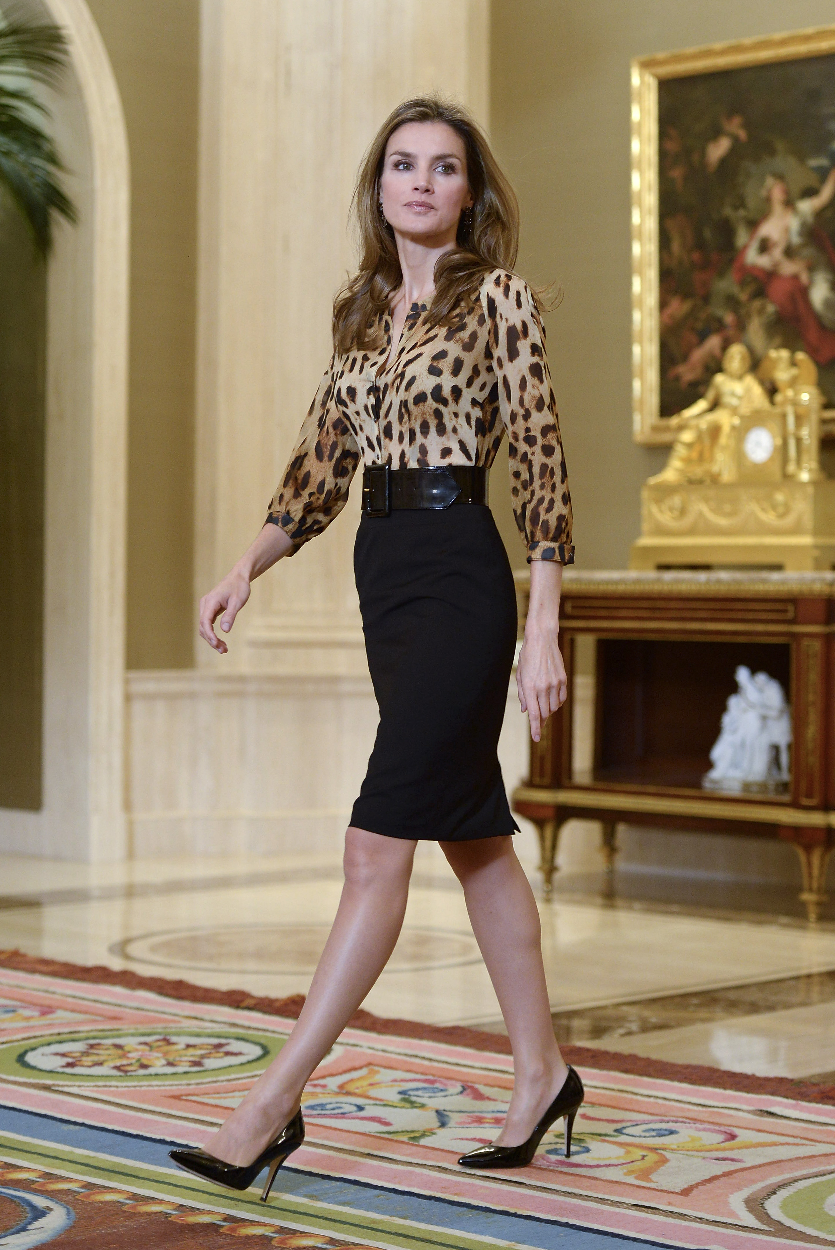 Princess Letizia of Spain attends Audiences at Zarzuela Palace on October 21, 2013 in Madrid.