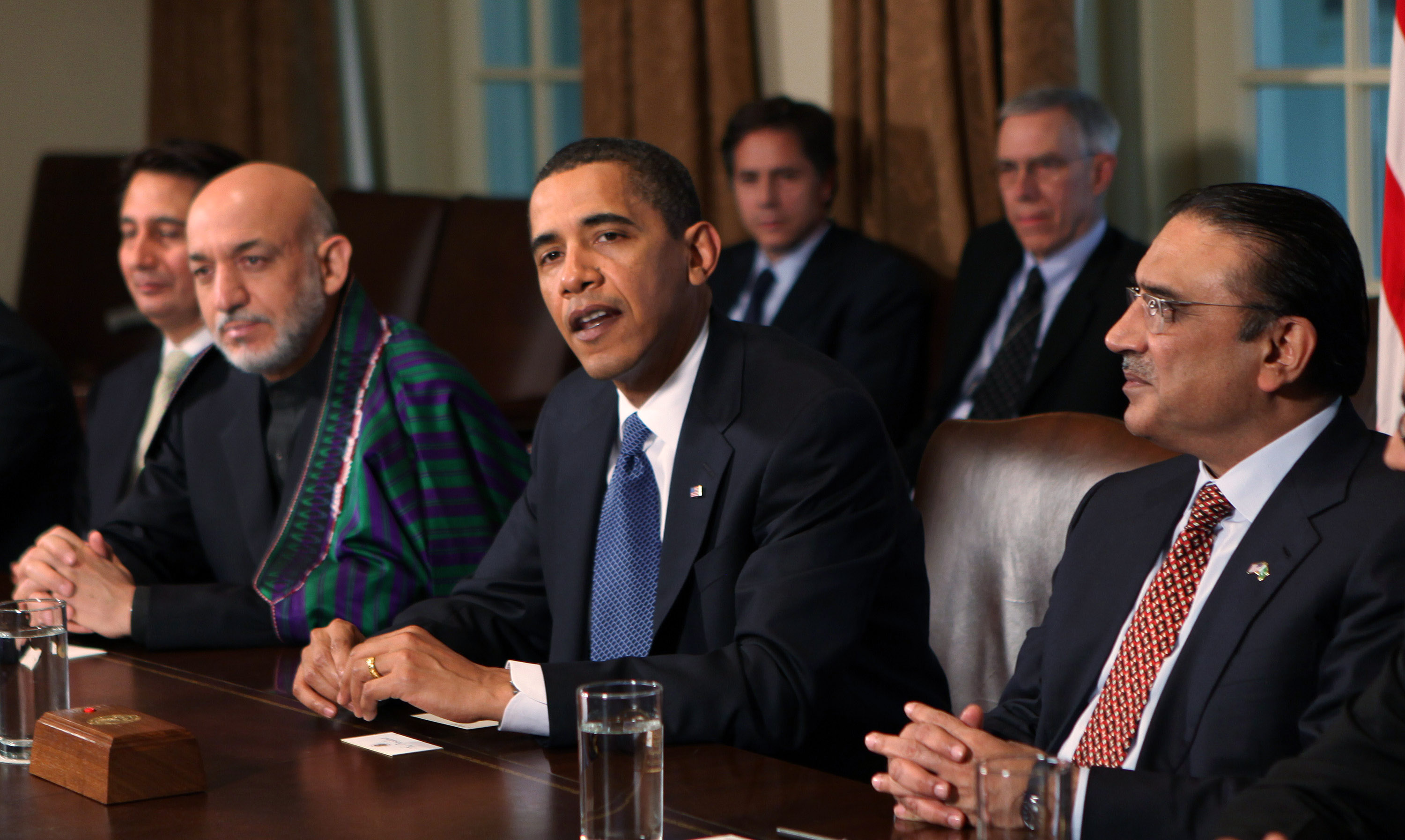 U.S. President Barack Obama meets with the President of Afghanistan Hamid Karzai and the President of  Pakistan Asif Zardari in the Cabinet Room of the White House on May 6, 2009 in Washington, DC. The talks centered on how the unstable governments in Afghanistan and Pakistan can work with the United States to crack down on the Taliban insurgency.