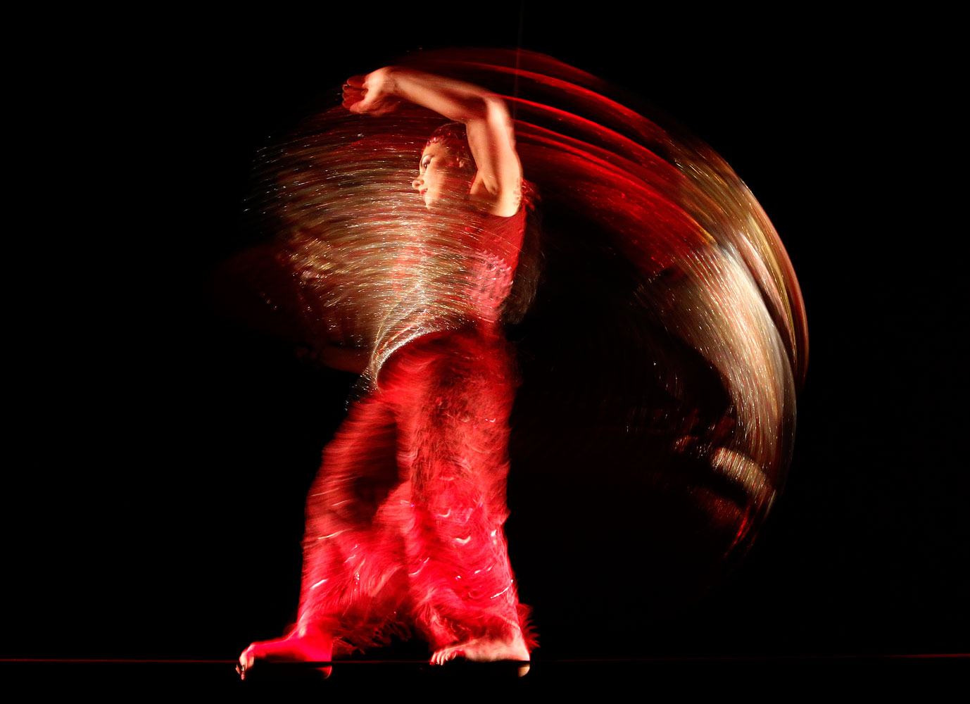 A Cirque Du Soleil performer during a dress rehearsal for the show  Corteo  in Valencia, Spain on June 15, 2011.
