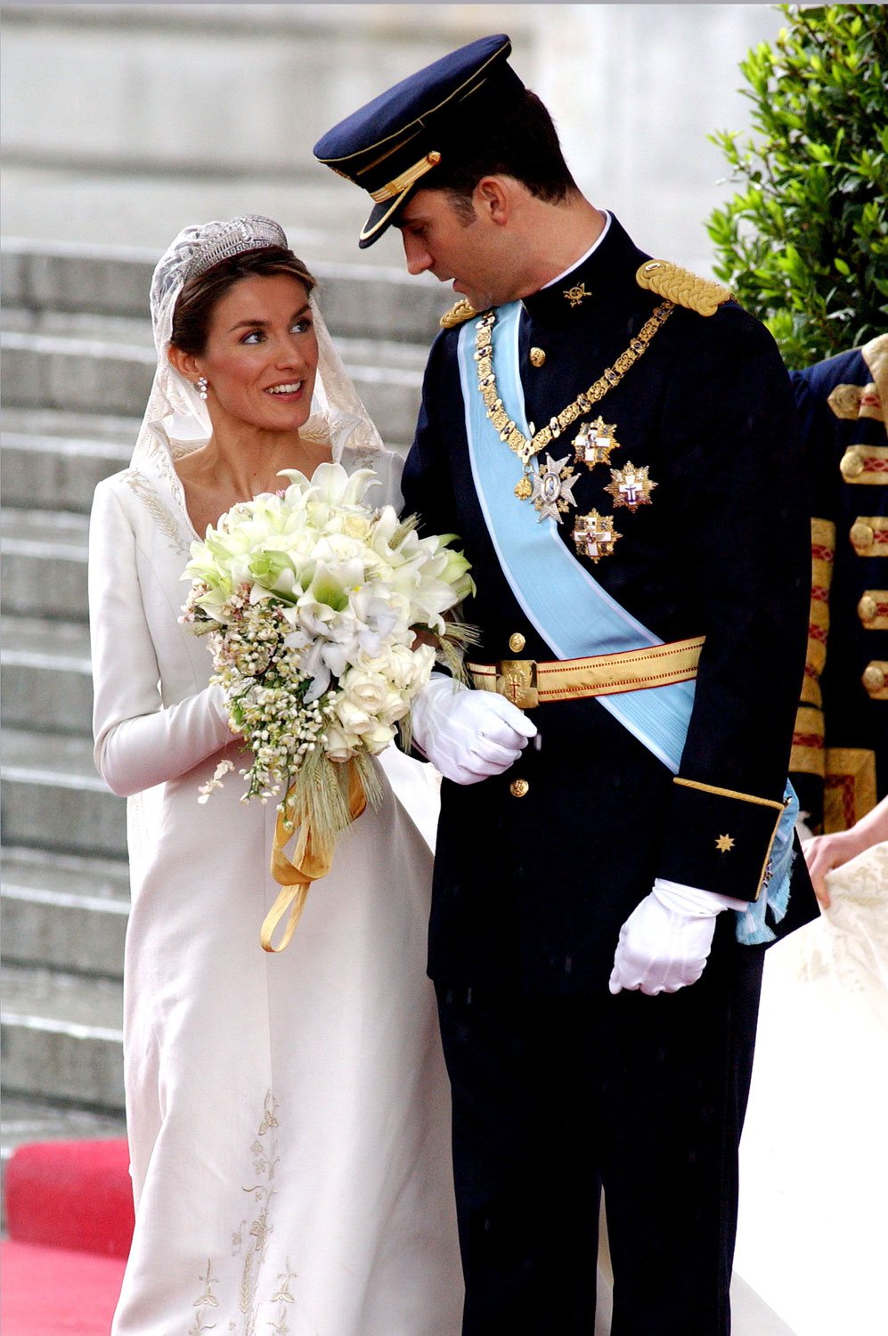 Princess Letizia Ortiz and Crown Prince Felipe during the Royal Wedding at Alumudena Cathedral in Madrid.