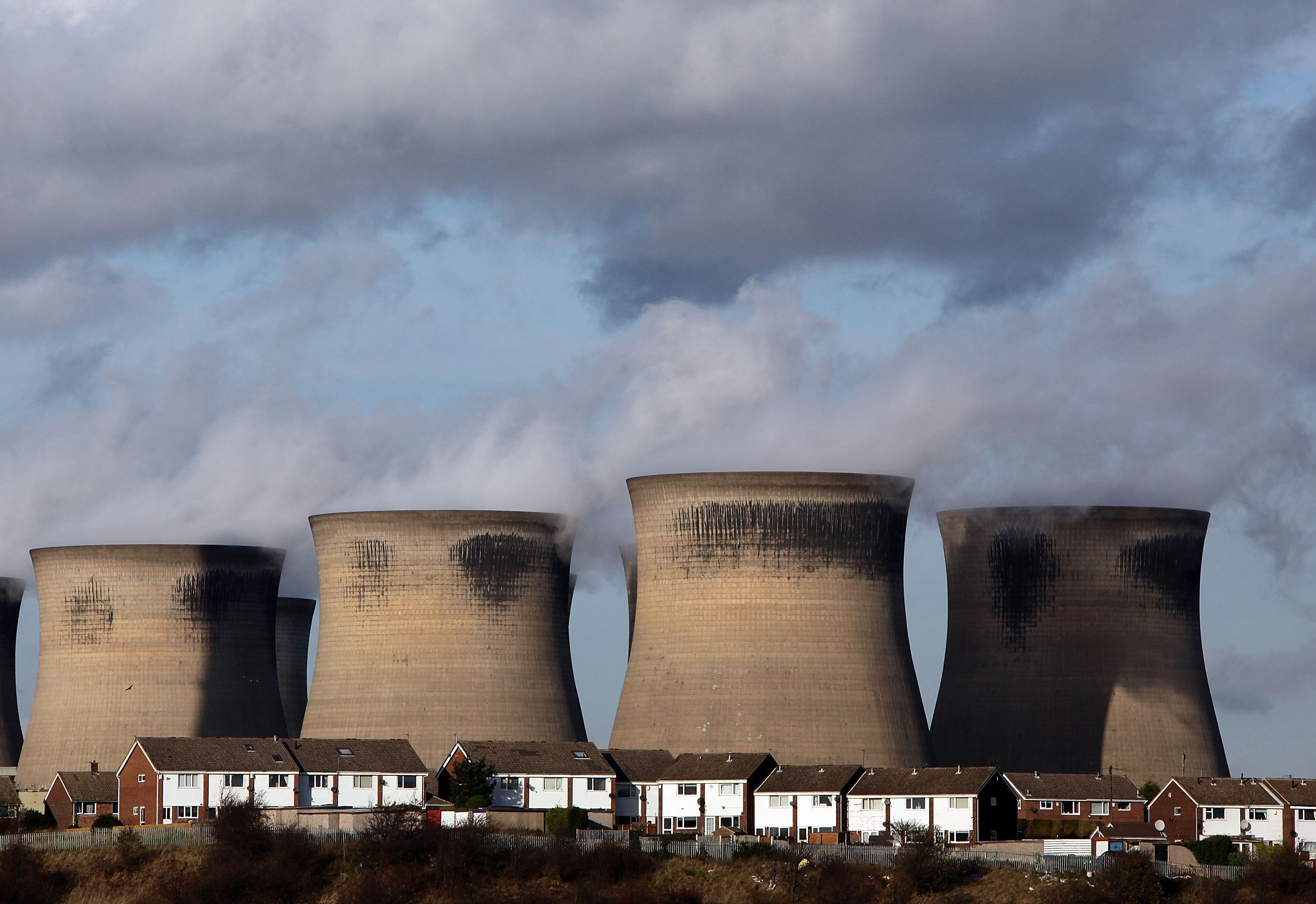 The coal fueled Ferrybridge power station as it generates electricity on November 17, 2009 in Ferrybridge, United Kingdom.