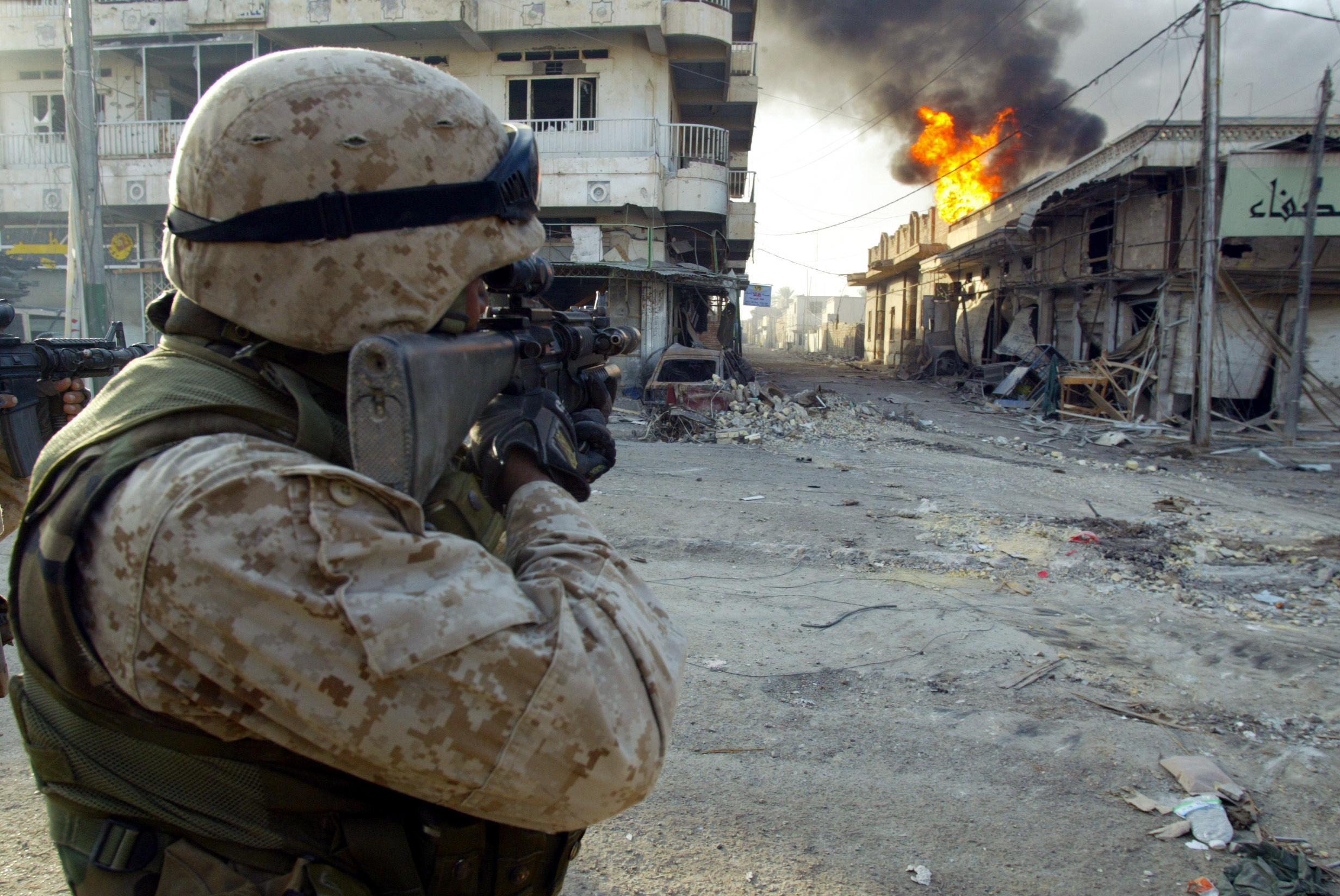 A U.S. Marine in Fallujah in November 2004.