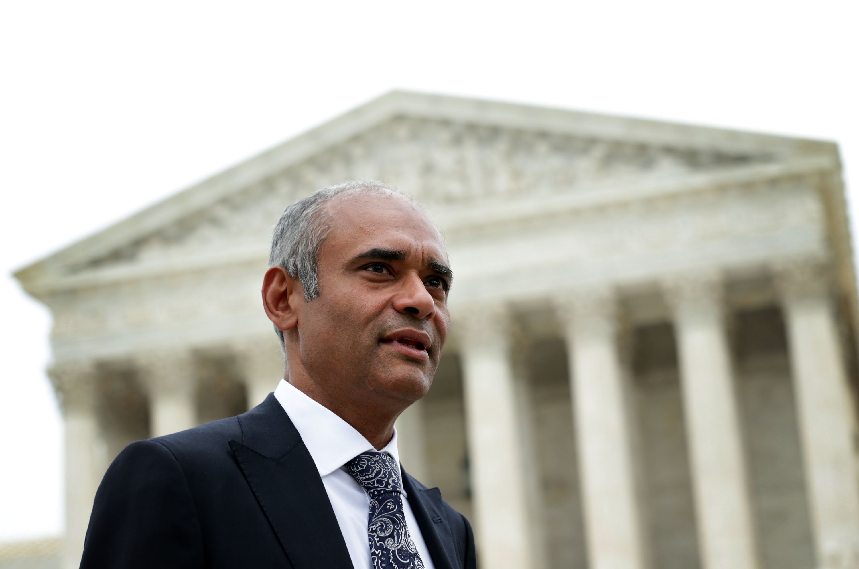 Aereo CEO Chet Kanojia leaves the U.S. Supreme Court after oral arguments on April 22, 2014 in Washington, DC.