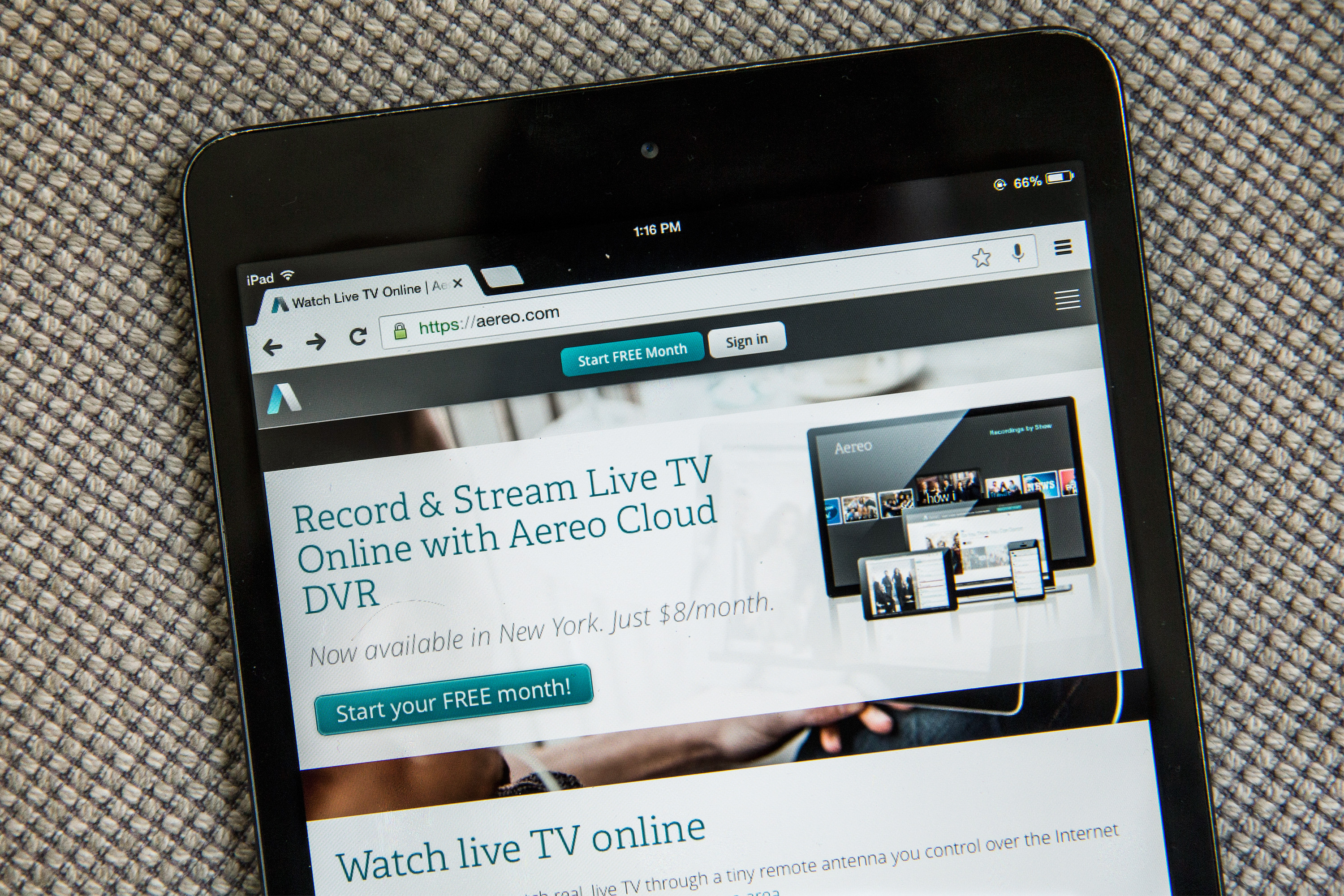 In this photo illustration, Aereo.com, a web service that provides television shows online, is shown on an iPad Mini, on April 22, 2014 in New York City.