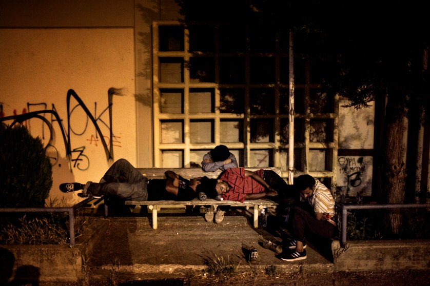 2012. Greece. Orestiada. A group of migrants spends the night in the railway station of Orestiada after crossing the border with Turkey. In 2011/2012, around 80% of migration towards Europe crossed through Greek territory.