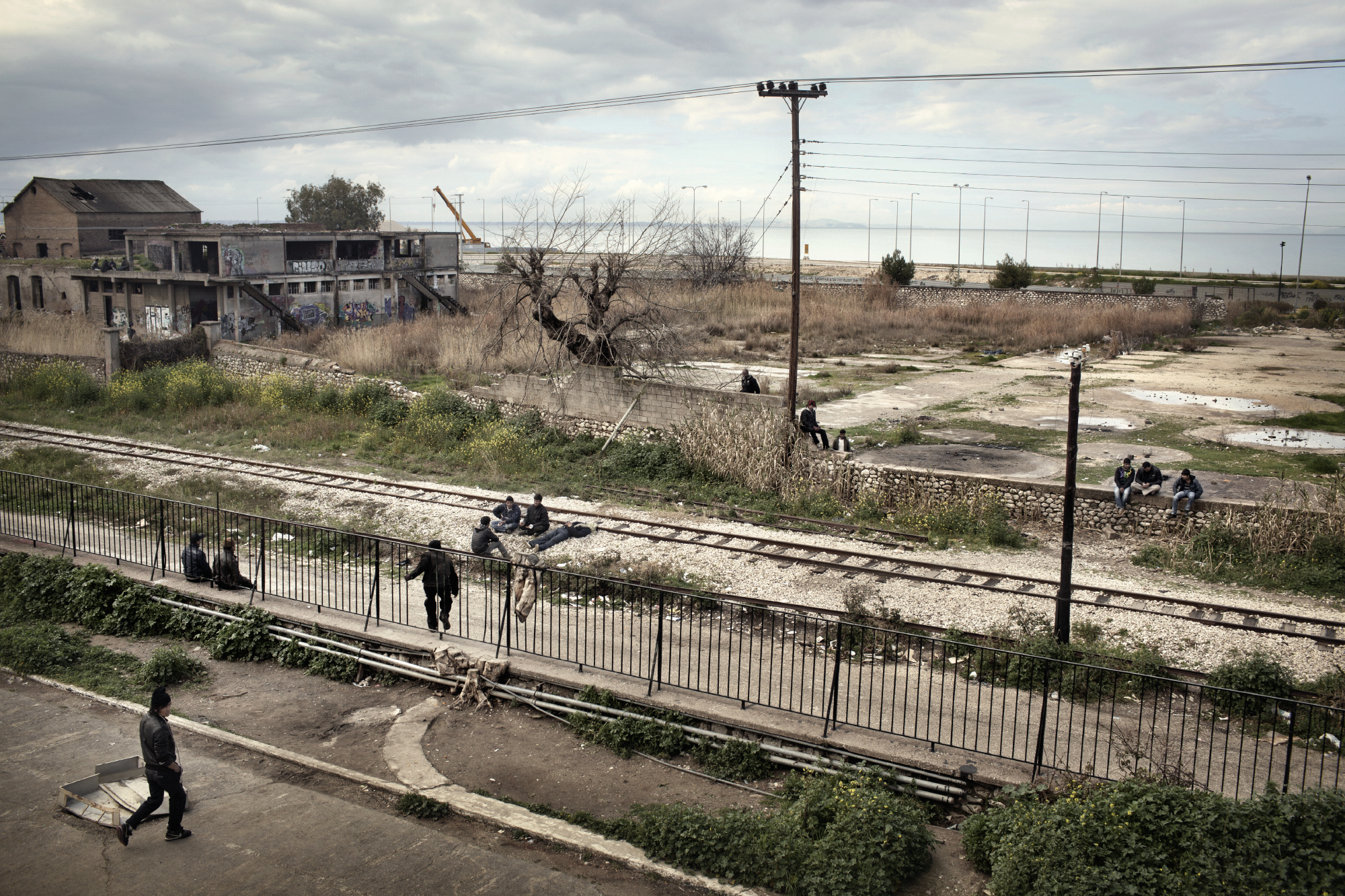 View from the factory where illegal immigrants live, near the port of Patras, Greece.