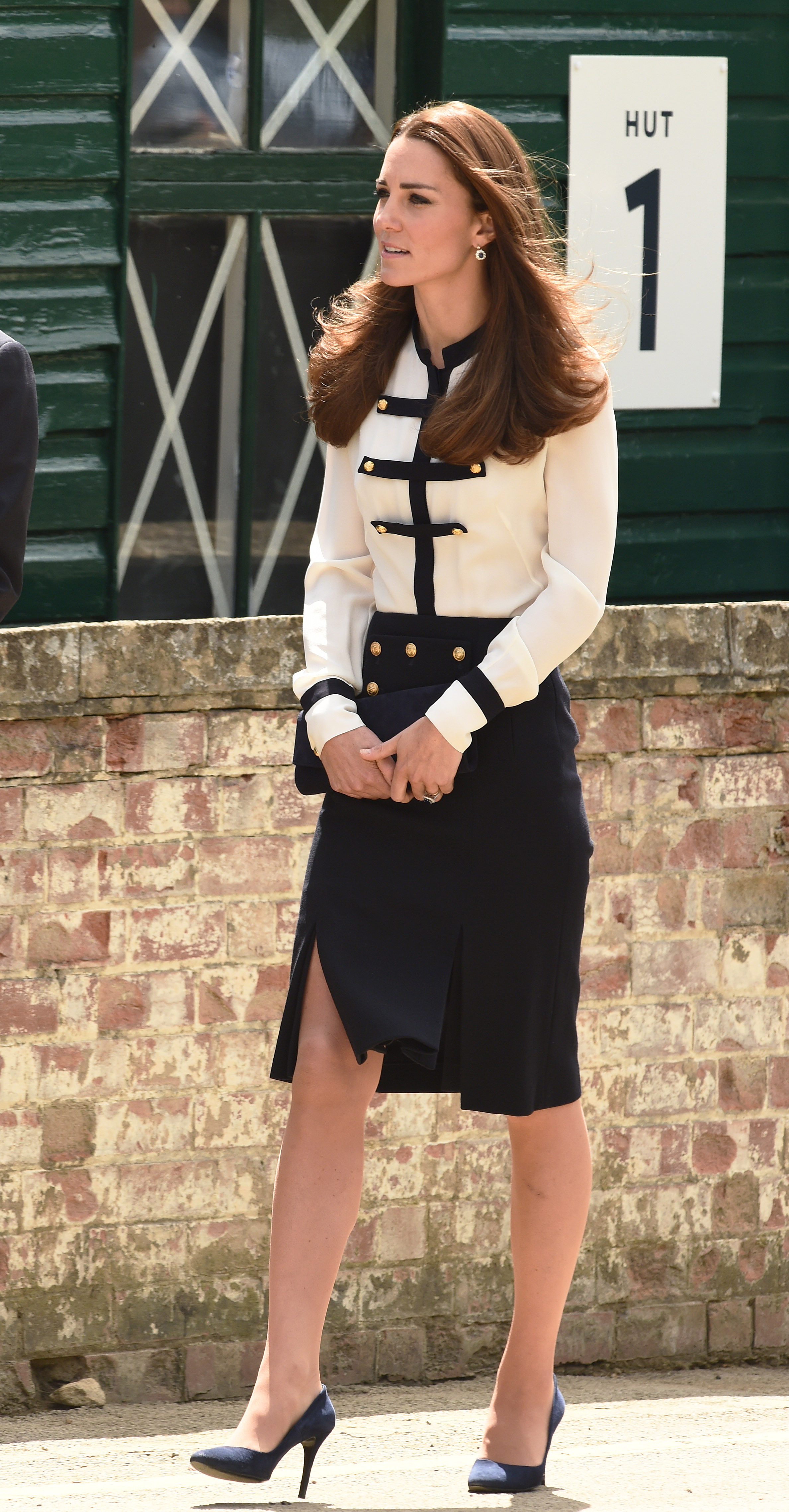 <strong>Anchors Aweigh</strong>Catherine, Duchess of Cambridge, wearing an Alexander McQueen outfit, visits Bletchley Park, where her grandmother was a codebreaker, on June 18, 2014 in Bletchley, England.