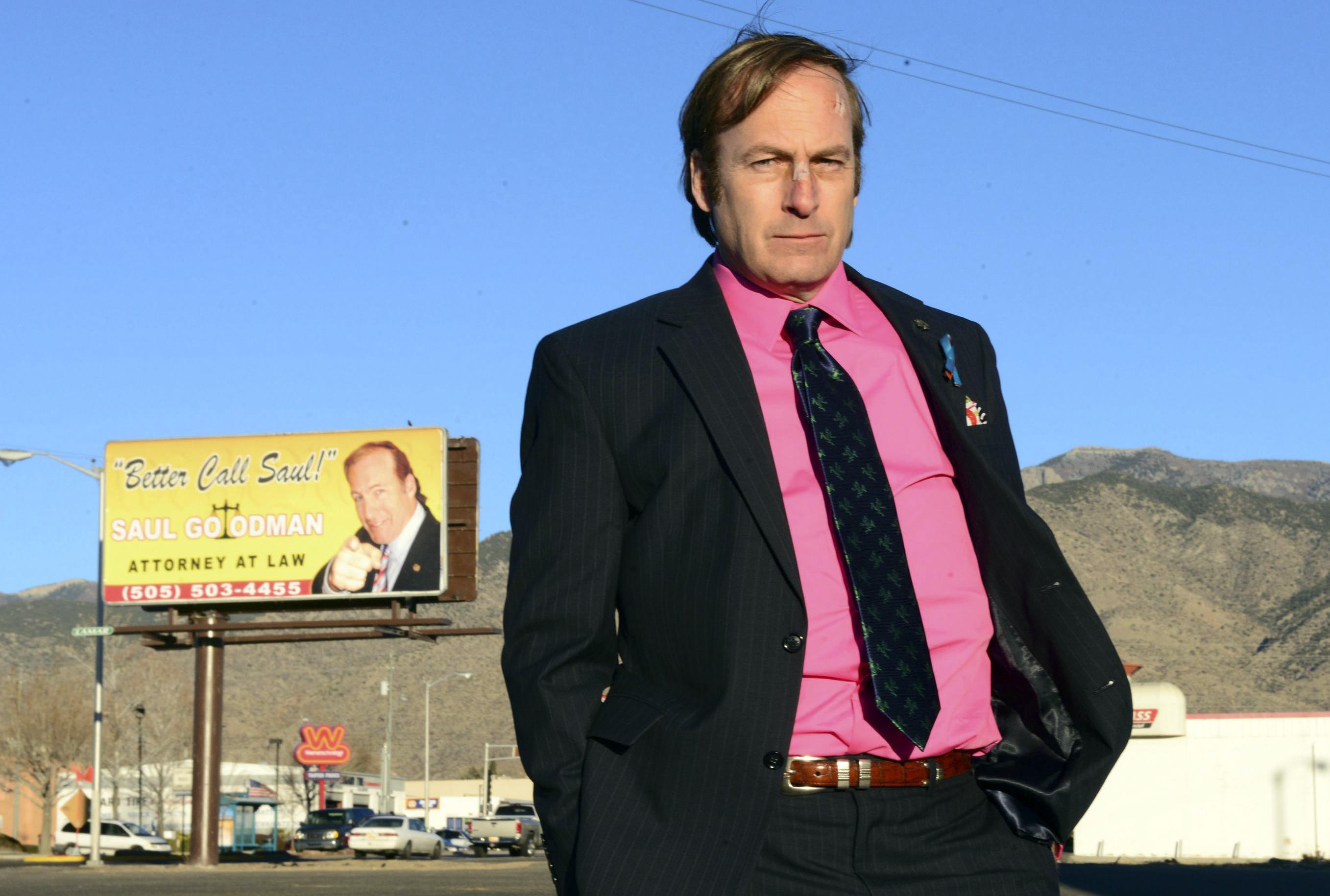 Bob Odenkirk as Saul Goodman in a scene from the final season of  Breaking Bad.