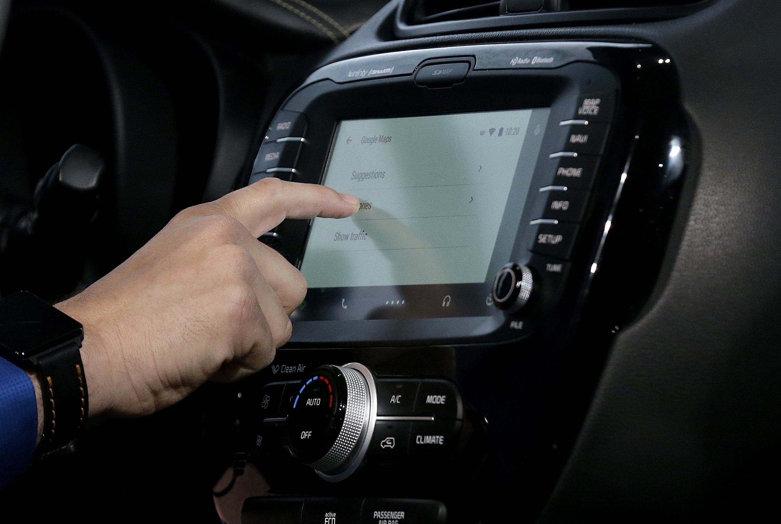 A demonstration of Android Auto is given during the Google I/O 2014 keynote presentation in San Francisco on June 25, 2014.