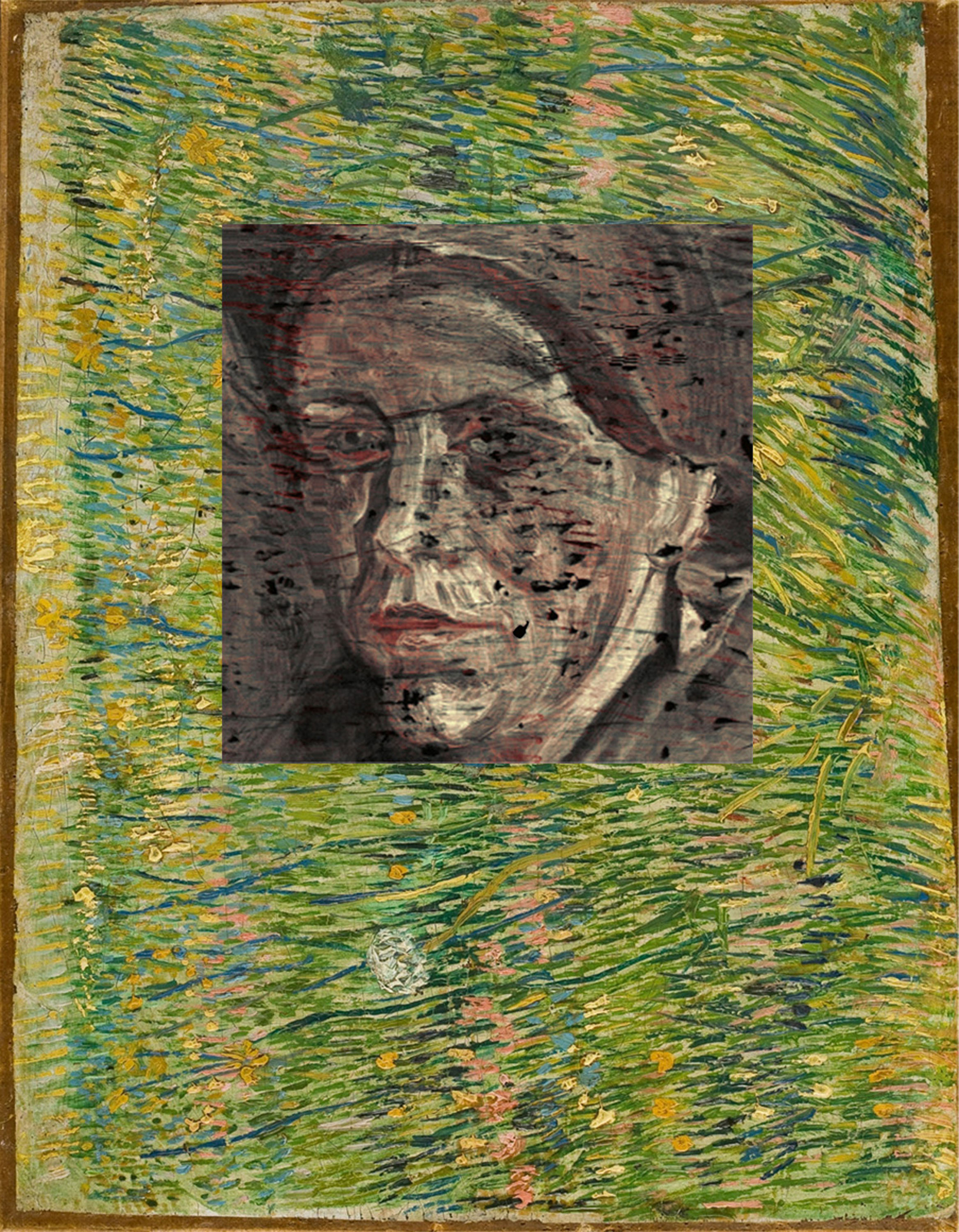 In this composite photograph, a hidden portrait under the Vincent van Gogh painting ''Patch of Grass'' from 1887, is seen.