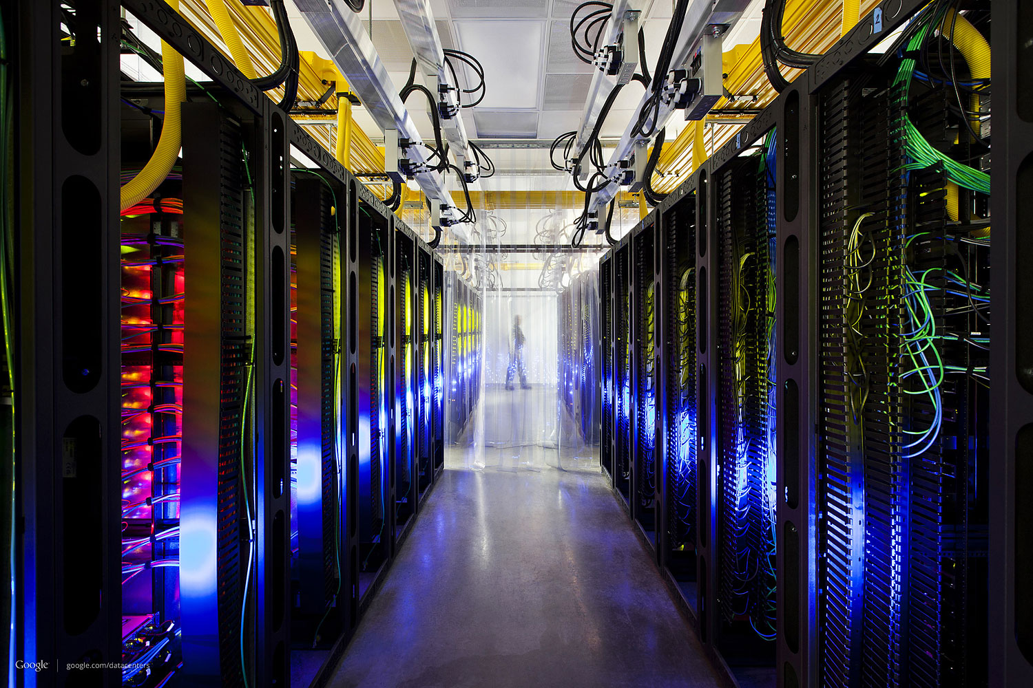 This undated photo made available by Google shows a campus-network room at a data center in Council Bluffs, Iowa.