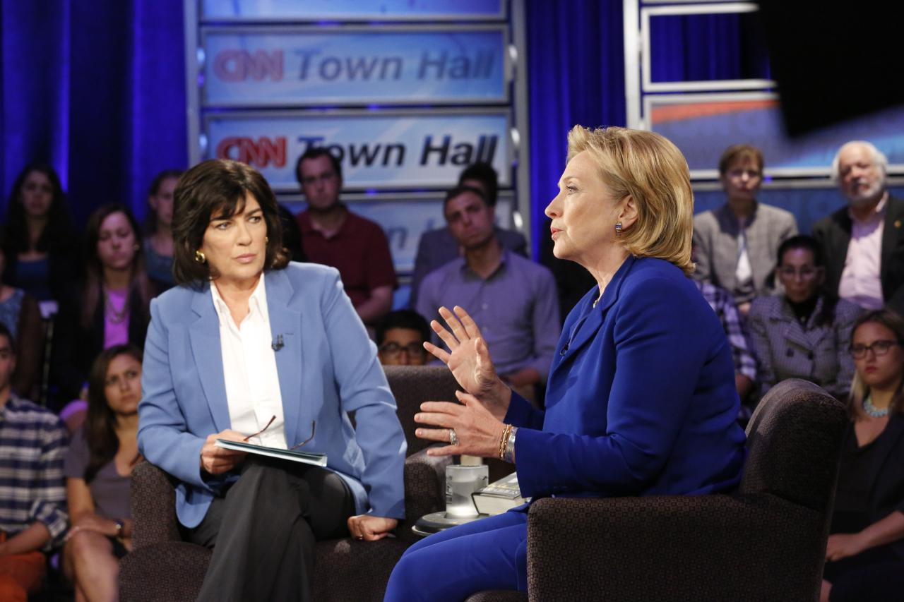 Hillary Rodham Clinton speaks during CNN's Town Hall interview on June 17, 2014.