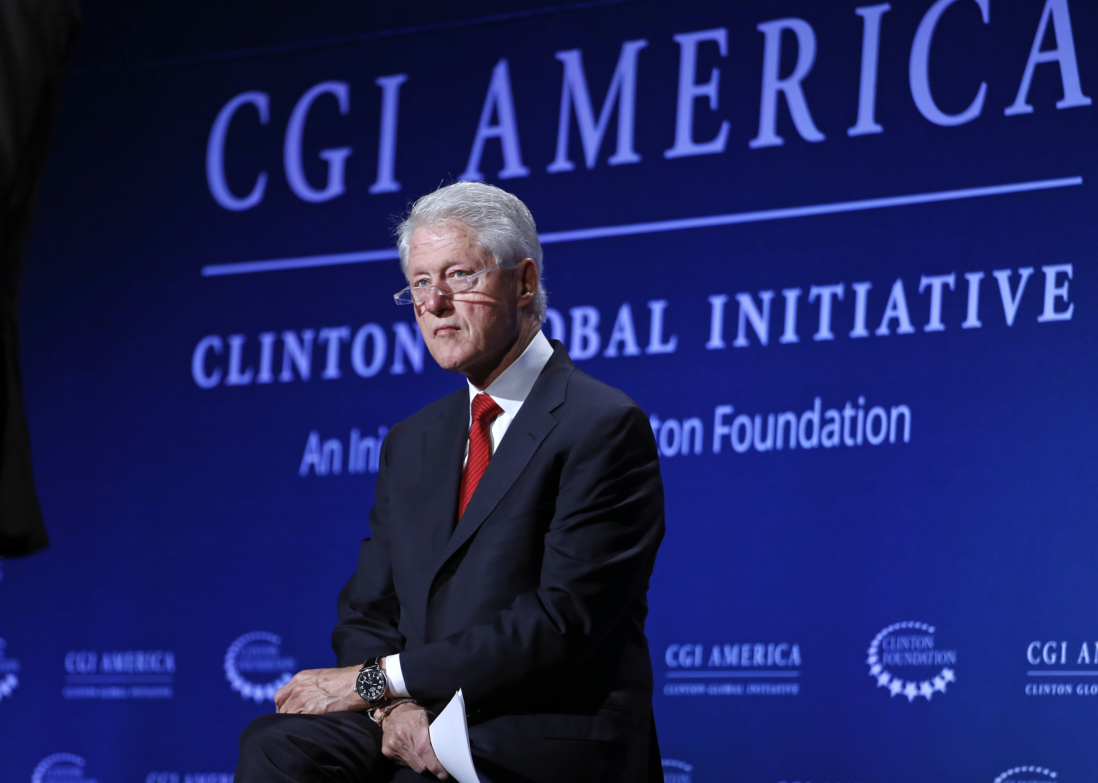 Former President Bill Clinton listens during a session of the annual gathering of the Clinton Global Initiative America in Denver on June 24, 2014