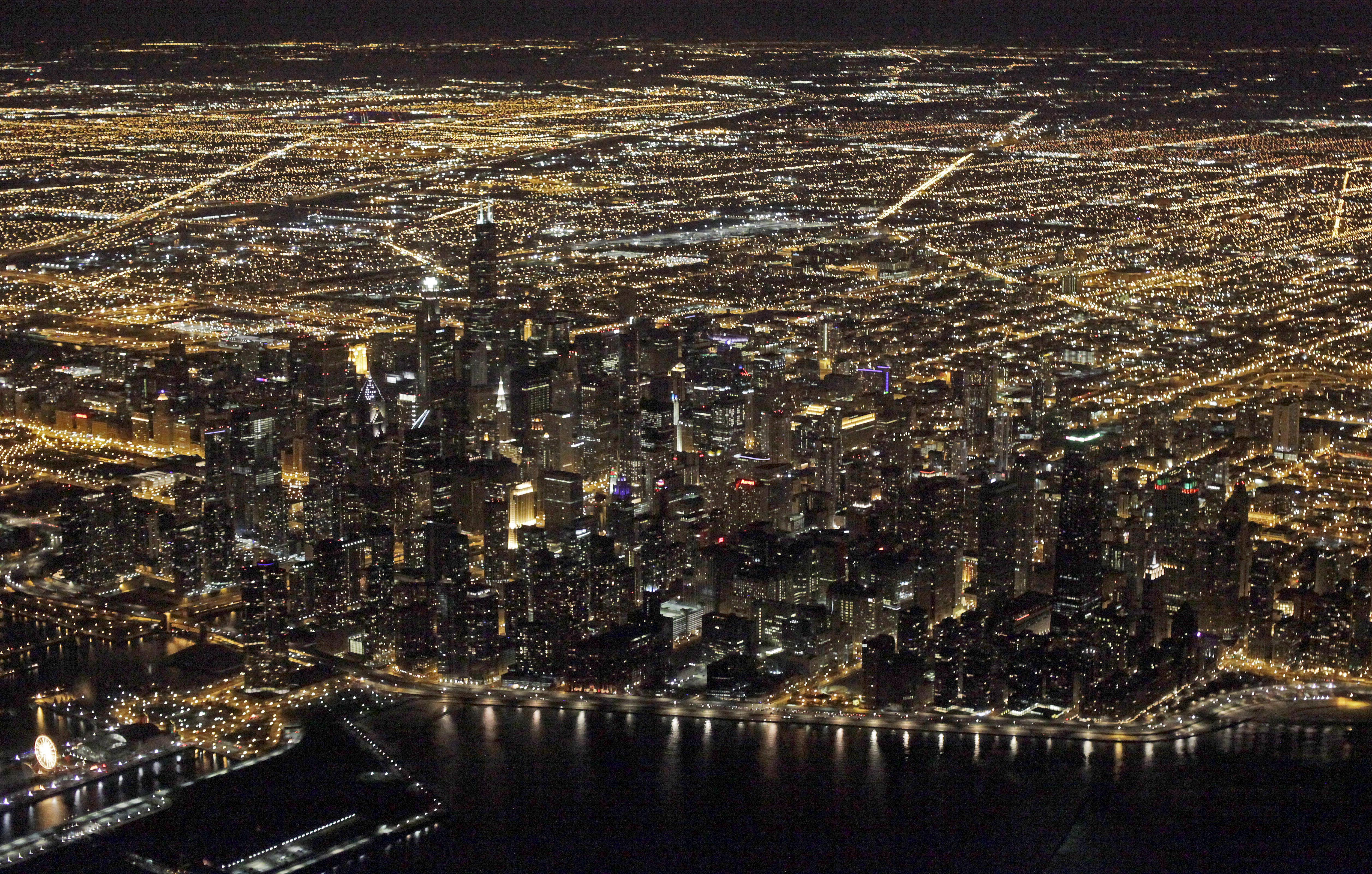This 2013 file photo shows an aerial view at night of the downtown Chicago skyline. Star Wars creator George Lucas has selected Chicago to build his museum of art and movie memorabilia