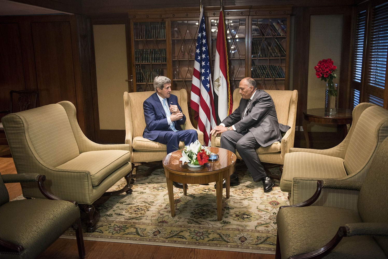 U.S. Secretary of State John Kerry, left, meets with Egyptian Foreign Minister Sameh Shukri in Cairo on June 22, 2014
