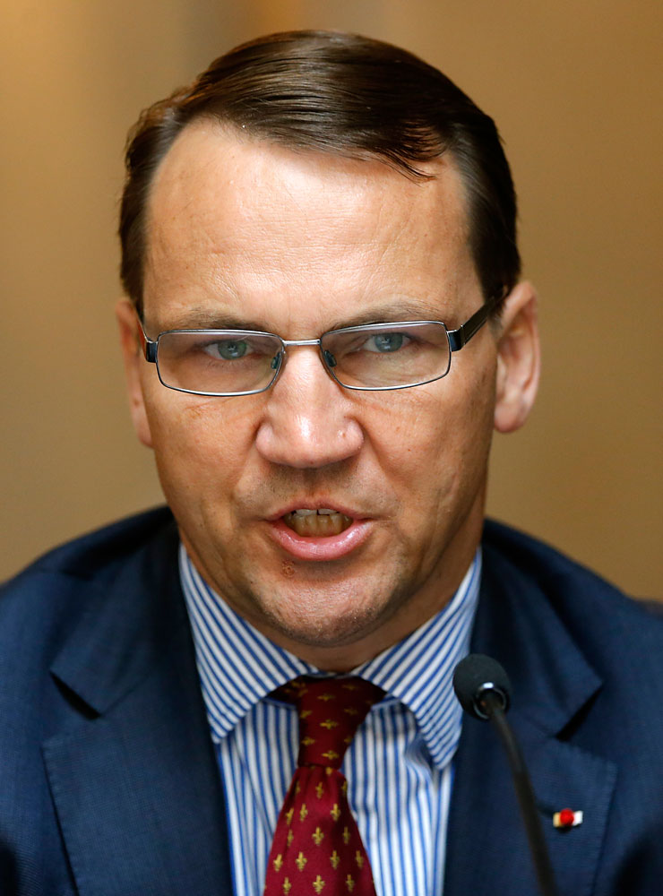 Polish Foreign Minister Radoslaw Sikorski speaks to the media at a conference in St. Petersburg on June 10, 2014