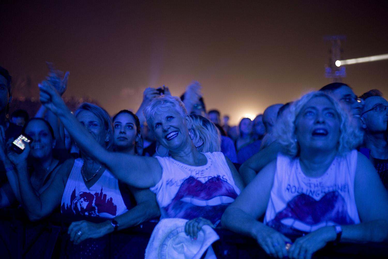 Spectators watch the Rolling Stones concert in Hayrkon Park, Tel Aviv on June 4, 2014.