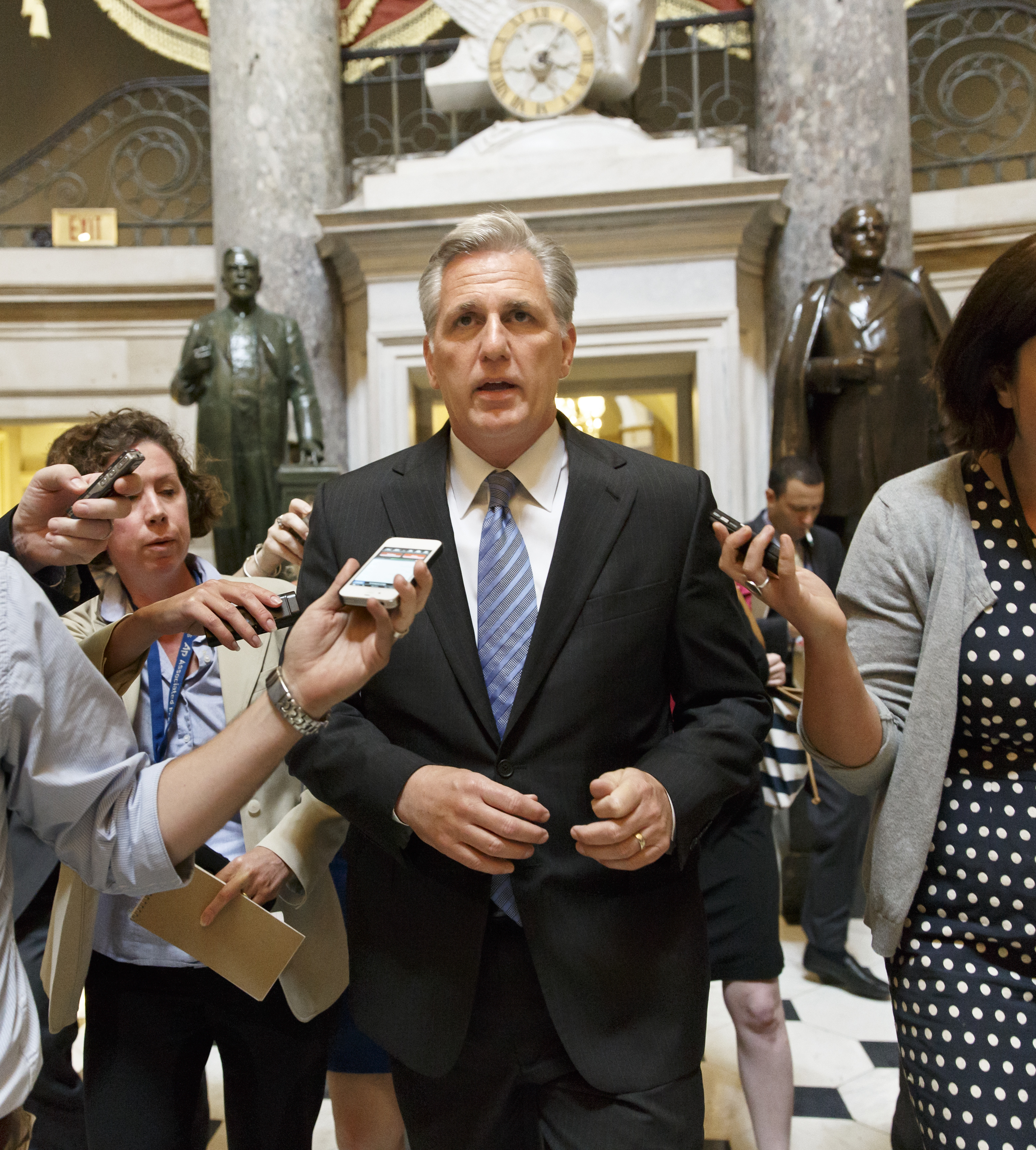 House Majority Whip Kevin McCarthy, R-Calif., leaves House Speaker John Boehner's office on the day after House Majority Leader Eric Cantor, R-Va., was defeated in the Virginia primary at the hands of a tea party challenger, at the Capitol in Washington, Wednesday, June 11, 2014.