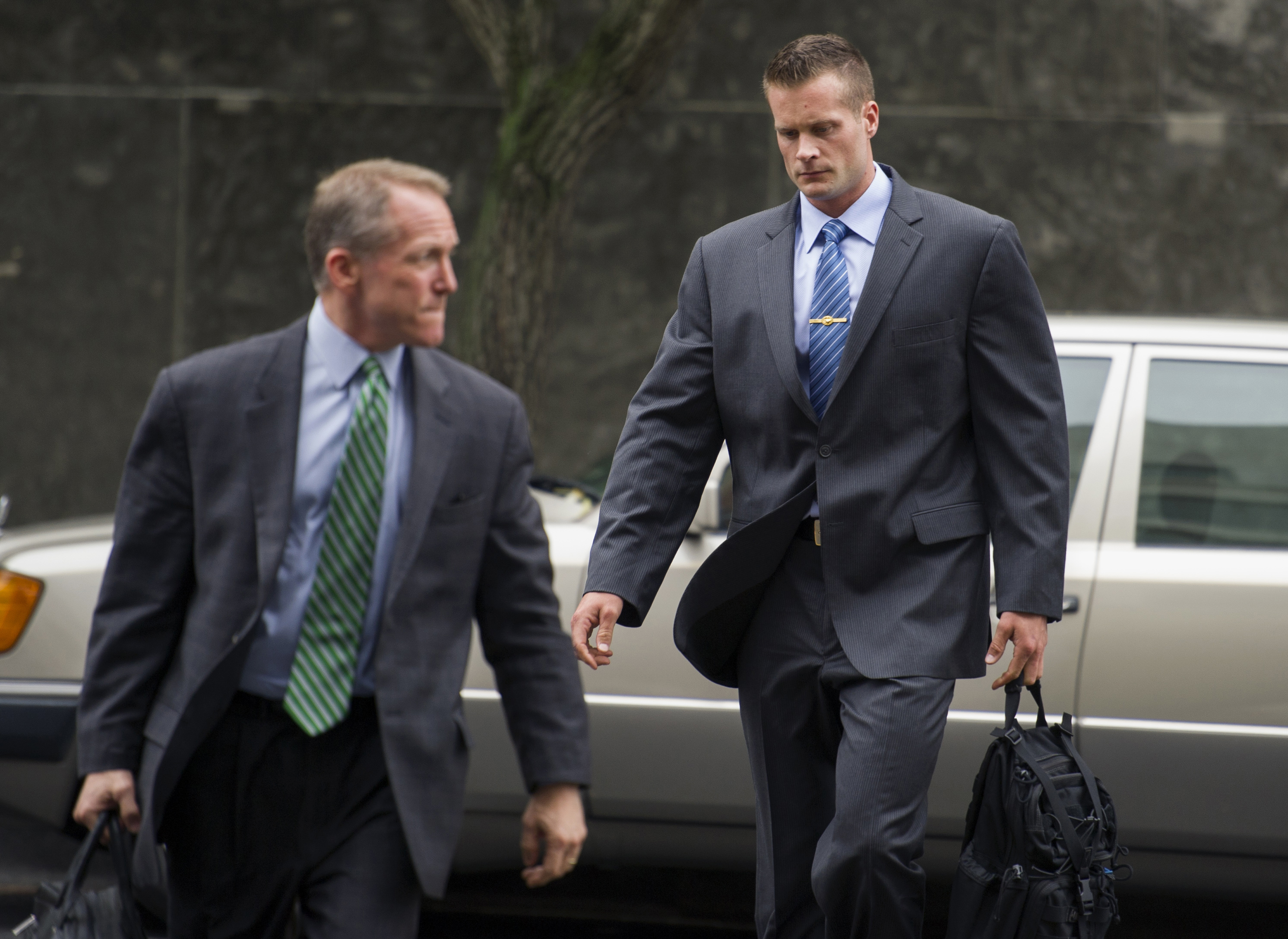 Former Blackwater guard Evan Liberty, right, arrives at a federal court in Washington to stand trial on June 11, 2014