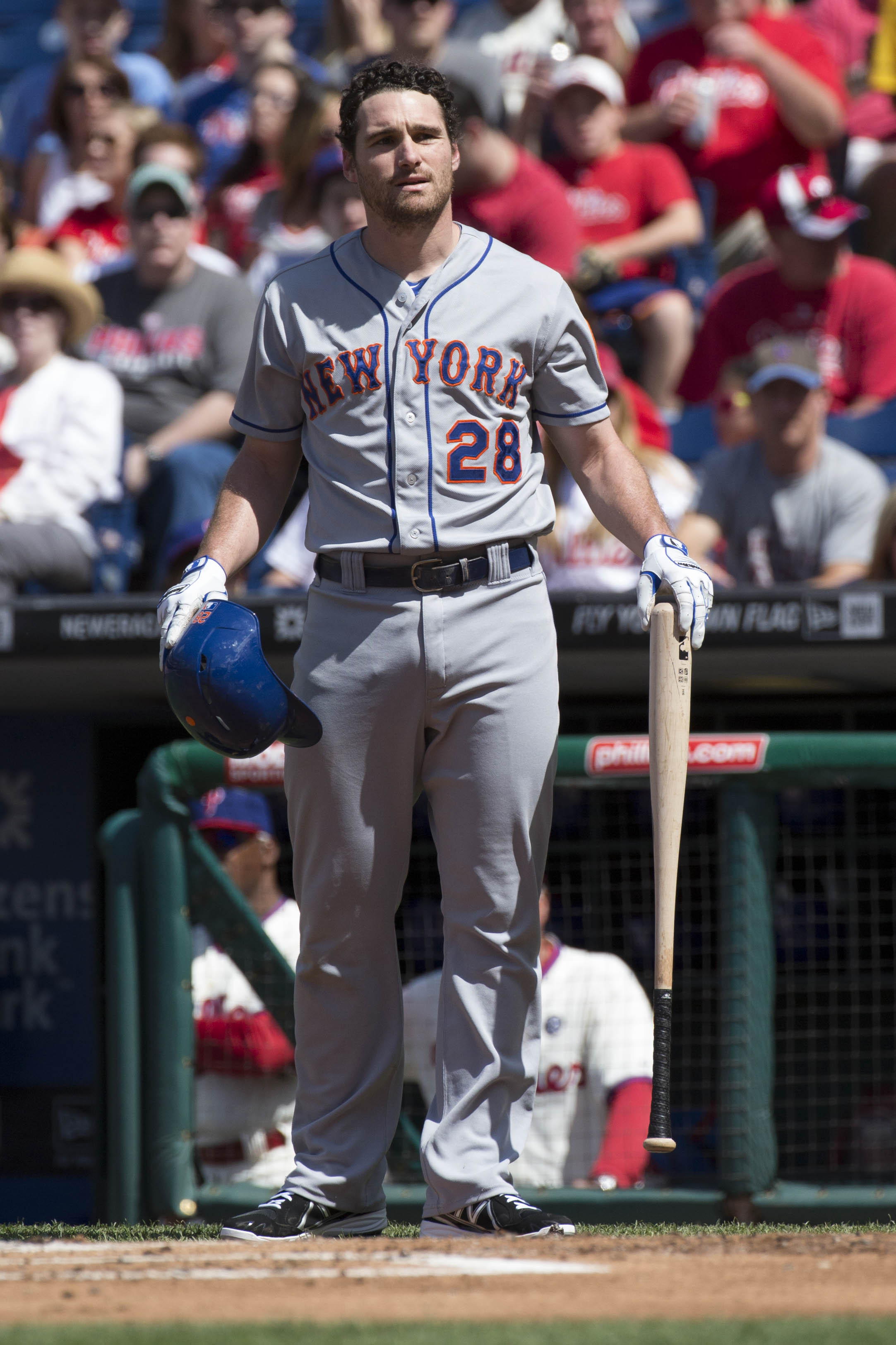 New York Mets' Daniel Murphy during the first inning of a baseball game, Saturday, May 31, 2014, in Philadelphia.