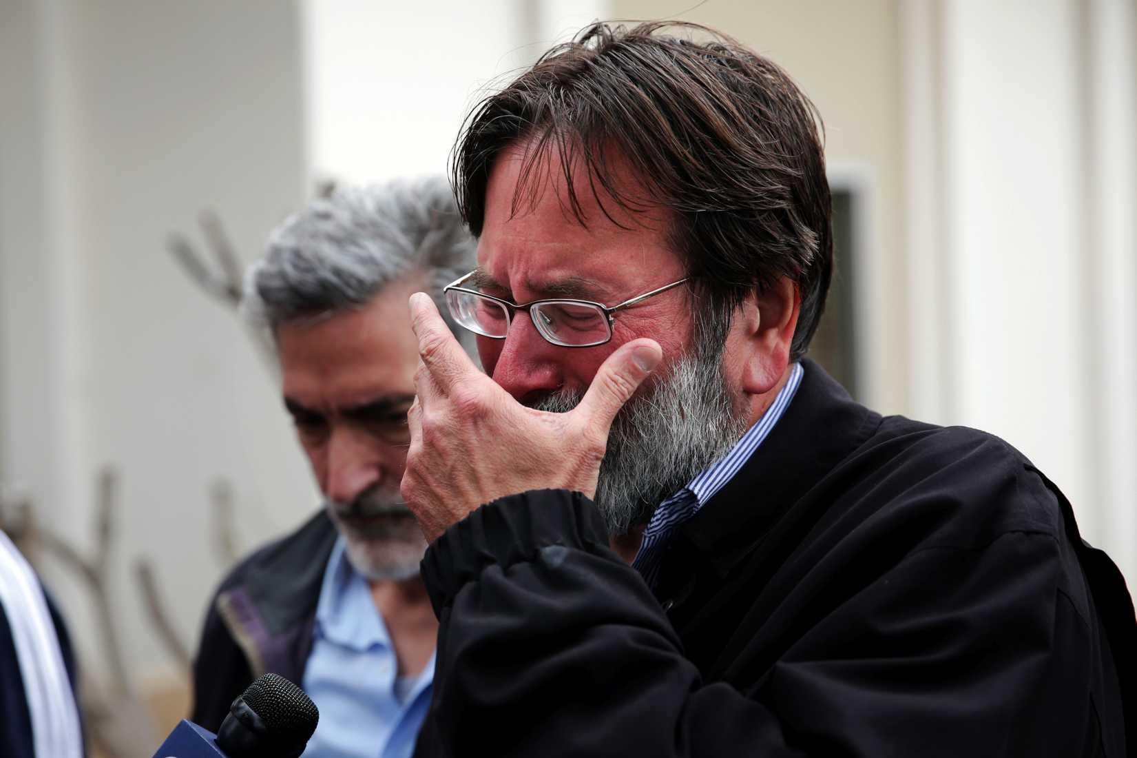 Richard Martinez, whose son Christopher was killed in a mass shooting  in Isla Vista, Calif., breaks down as he talks to media outside the Santa Barbara County Sheriff's Office on May 24, 2014, in Santa Barbara, Calif.
