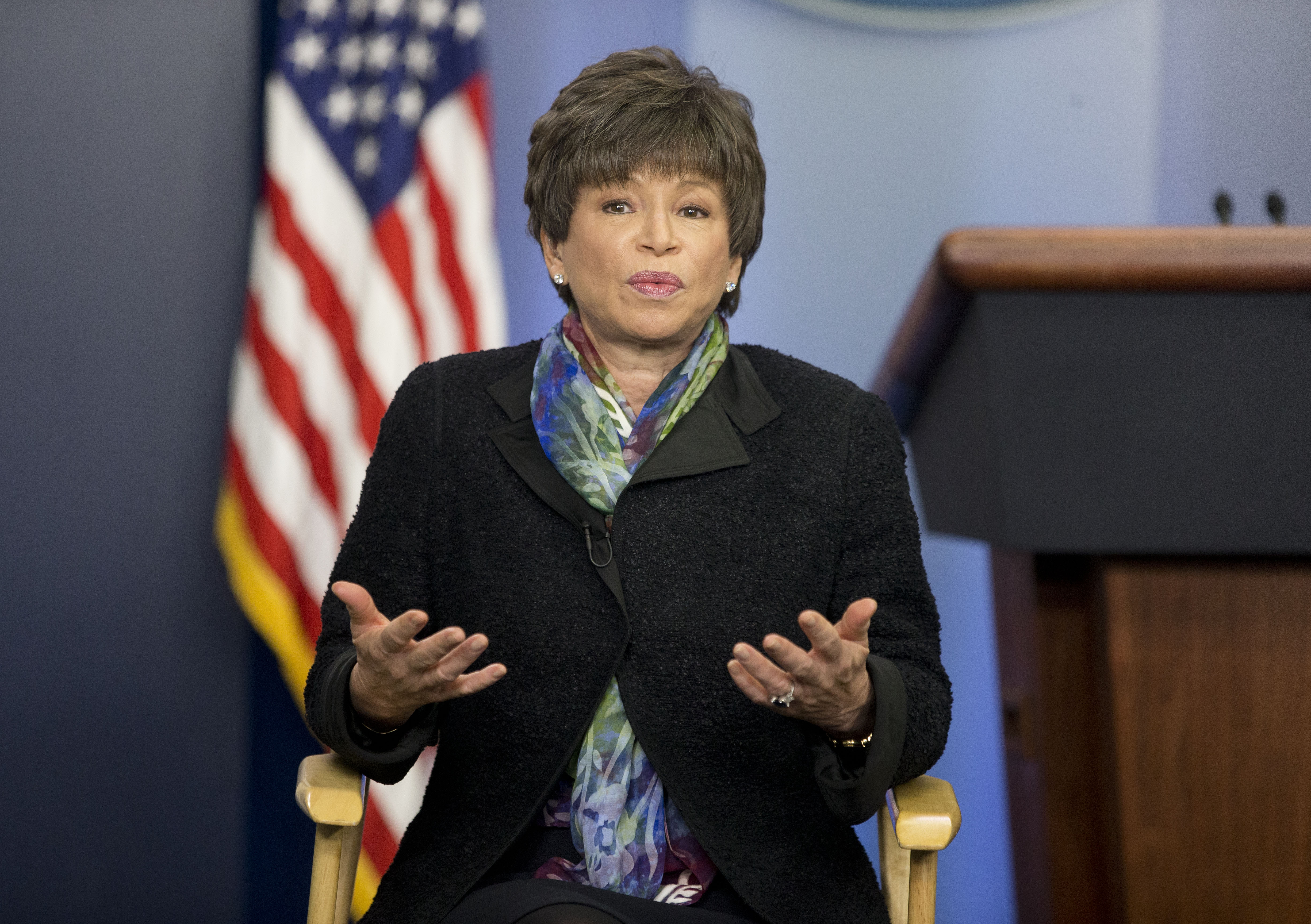 Senior White House adviser Valerie Jarrett speaks during a morning television interview with CBS in the Brady Press Briefing room of the White House in Washington, Wednesday, March 12, 2014. (AP Photo/Pablo Martinez Monsivais)