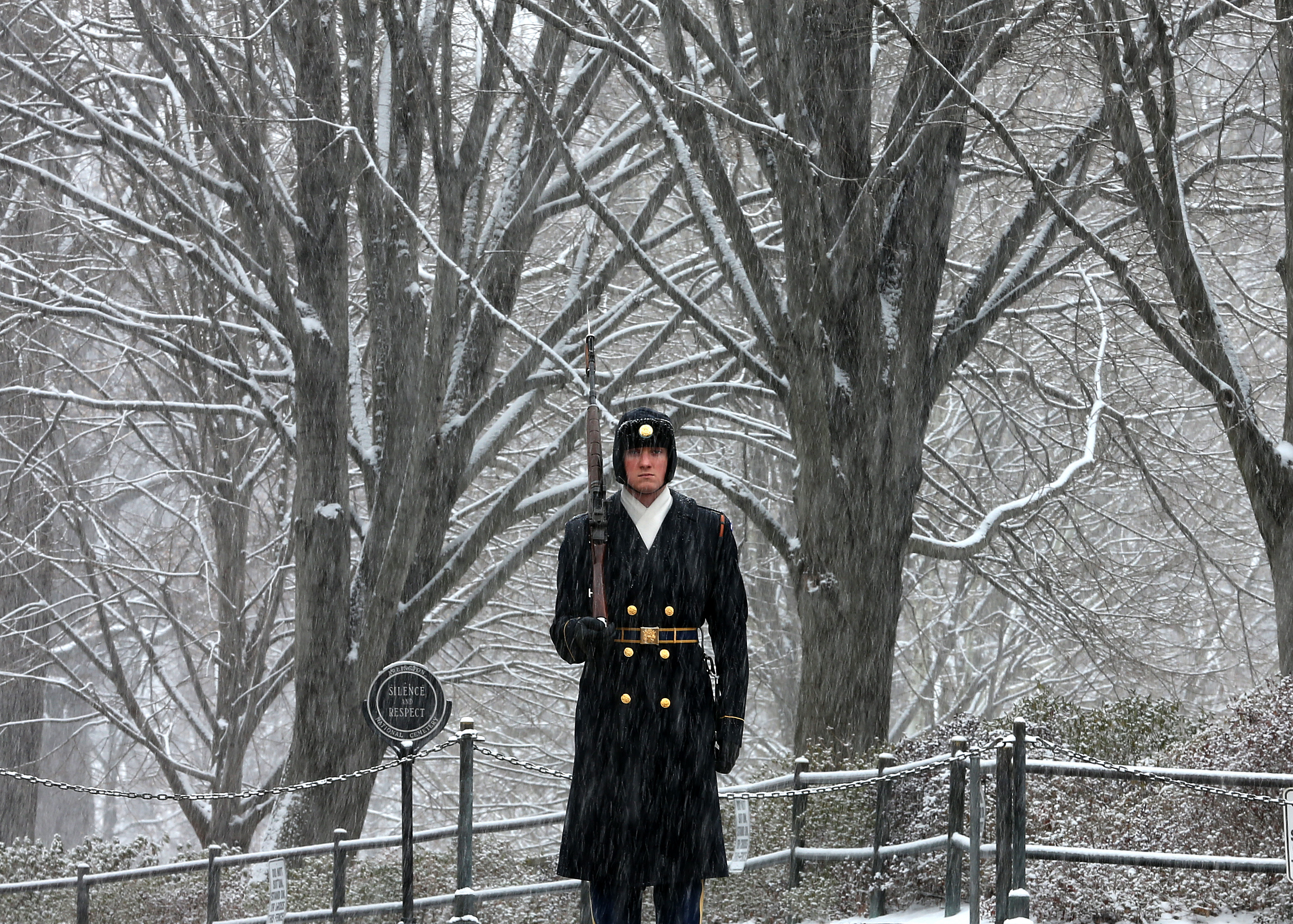 Snow falls as a member of the U.S. Army Old Guard, 3d U.S. Infantry Regiment guards the Tomb of the Unknowns at Arlington Cemetery in Va. on February 26, 2014.