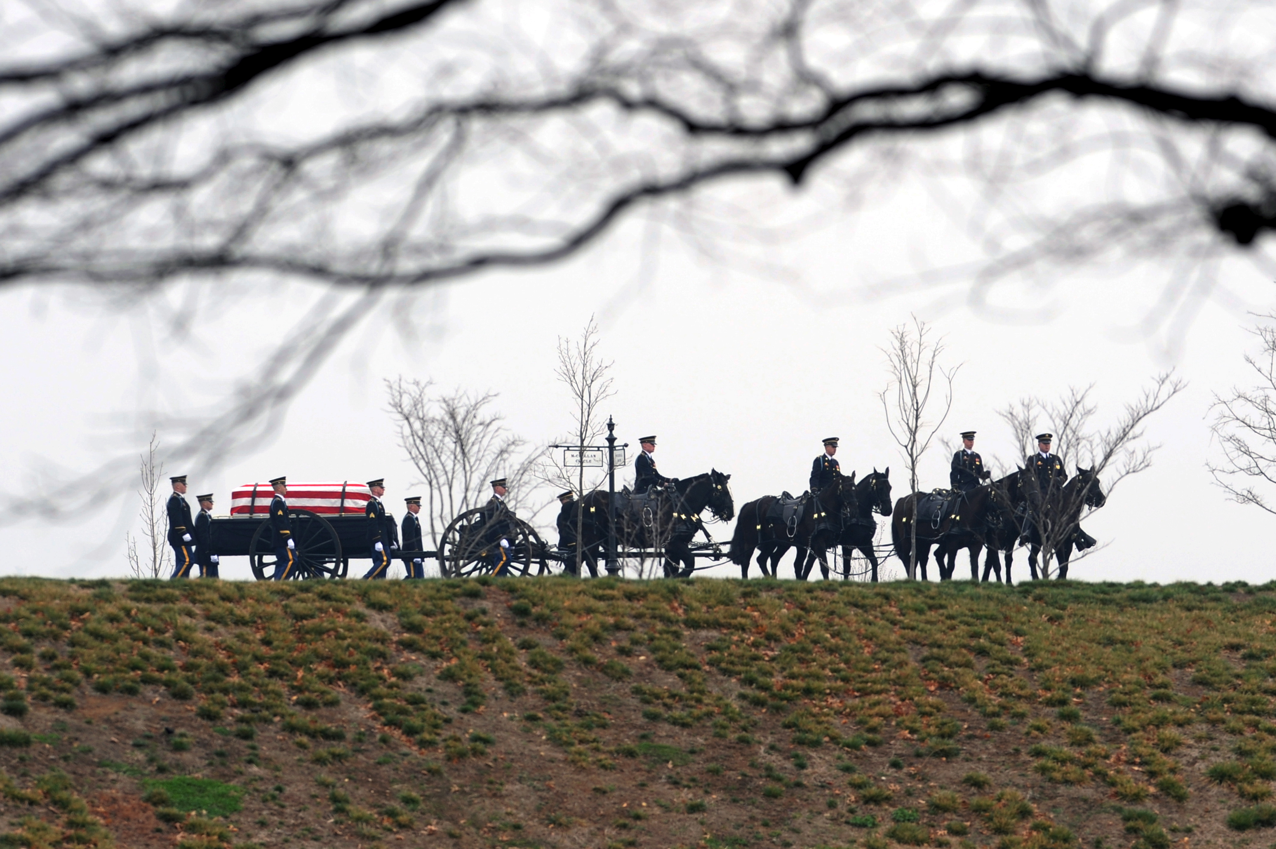 "A caisson and casket team of the 3rd U.S. Infantry, ""The Old Guard,"" are seen behind tree branches on a hilltop during the burial service of U.S. Army Captain Brian M. Bunting, at Arlington National Cemetery in Va., March 16, 2009."