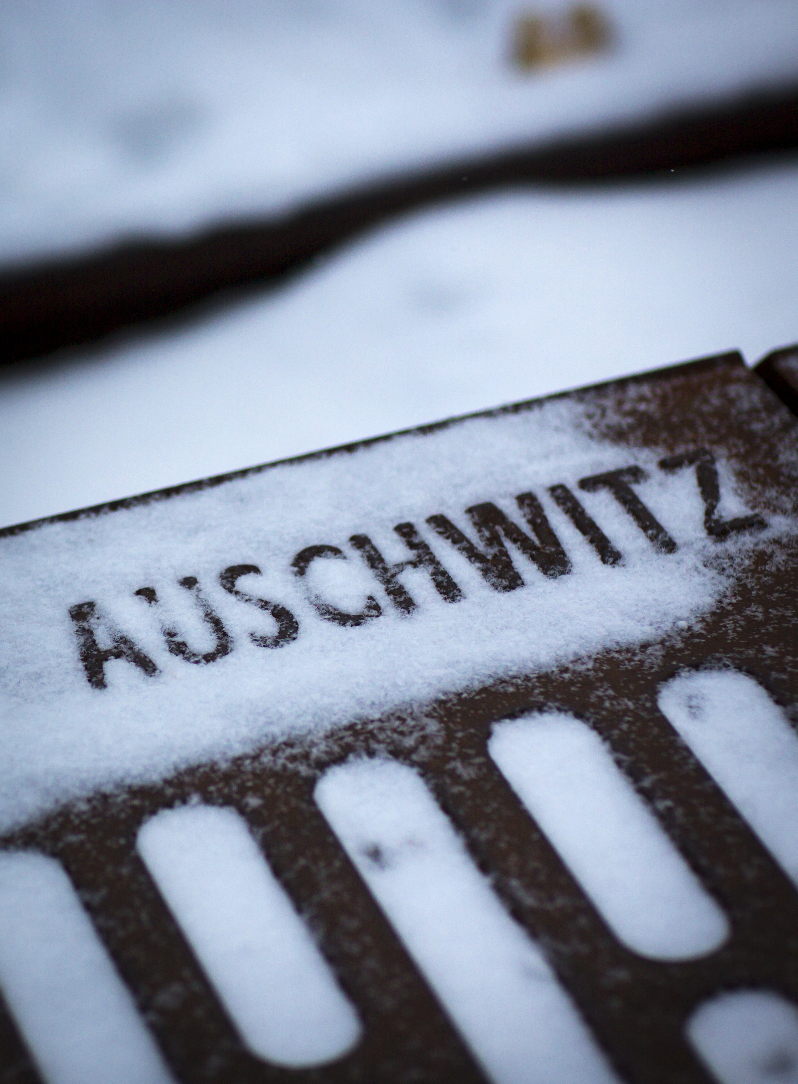 The word Auschwitz, denoting the name of the Nazi concentration camp at the Gleis 17 (platform 17) memorial commemorating Jews who were deported from Grunewald train station during World War Two in Berlin January 25, 2014.