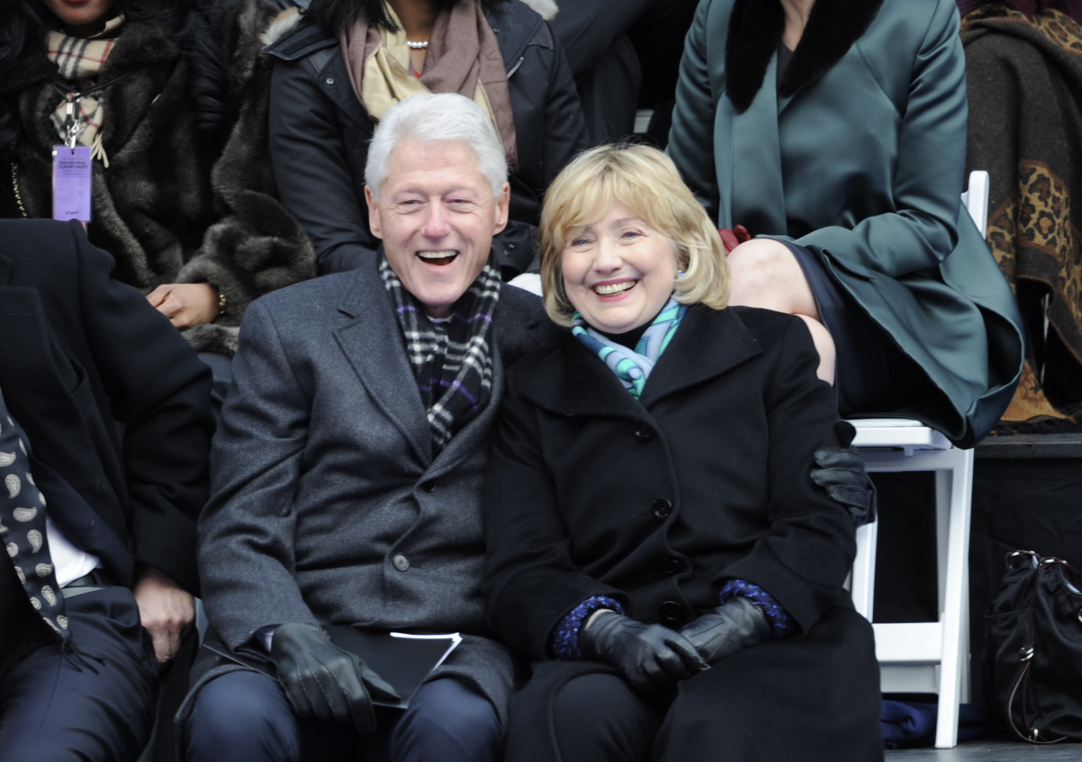 President Bill Clinton and Hillary Clinton attend the Inauguration of New York City Mayor Bill de Blasio on Jan. 1.