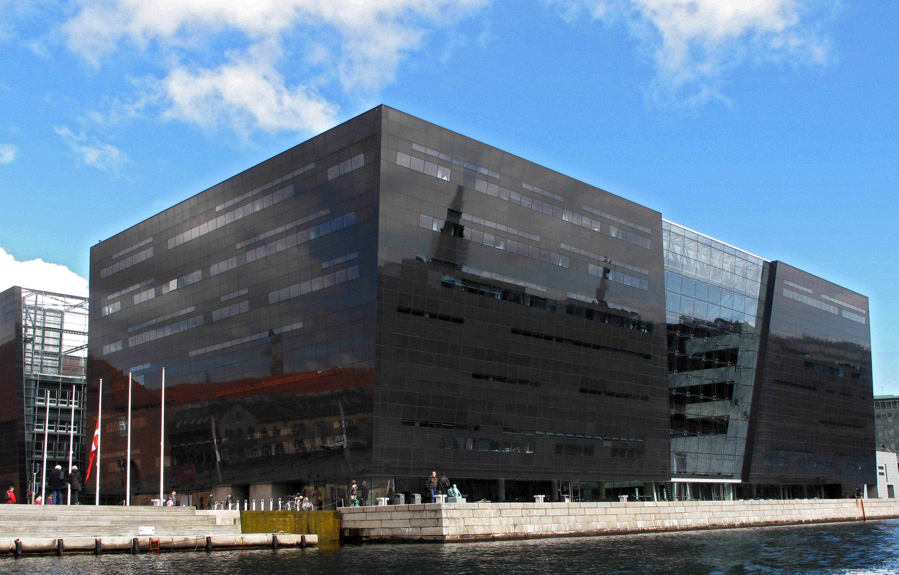 View of the modern waterfront extension to the Royal Danish Library The Black Diamond in Copenhagen on April 18, 2014.