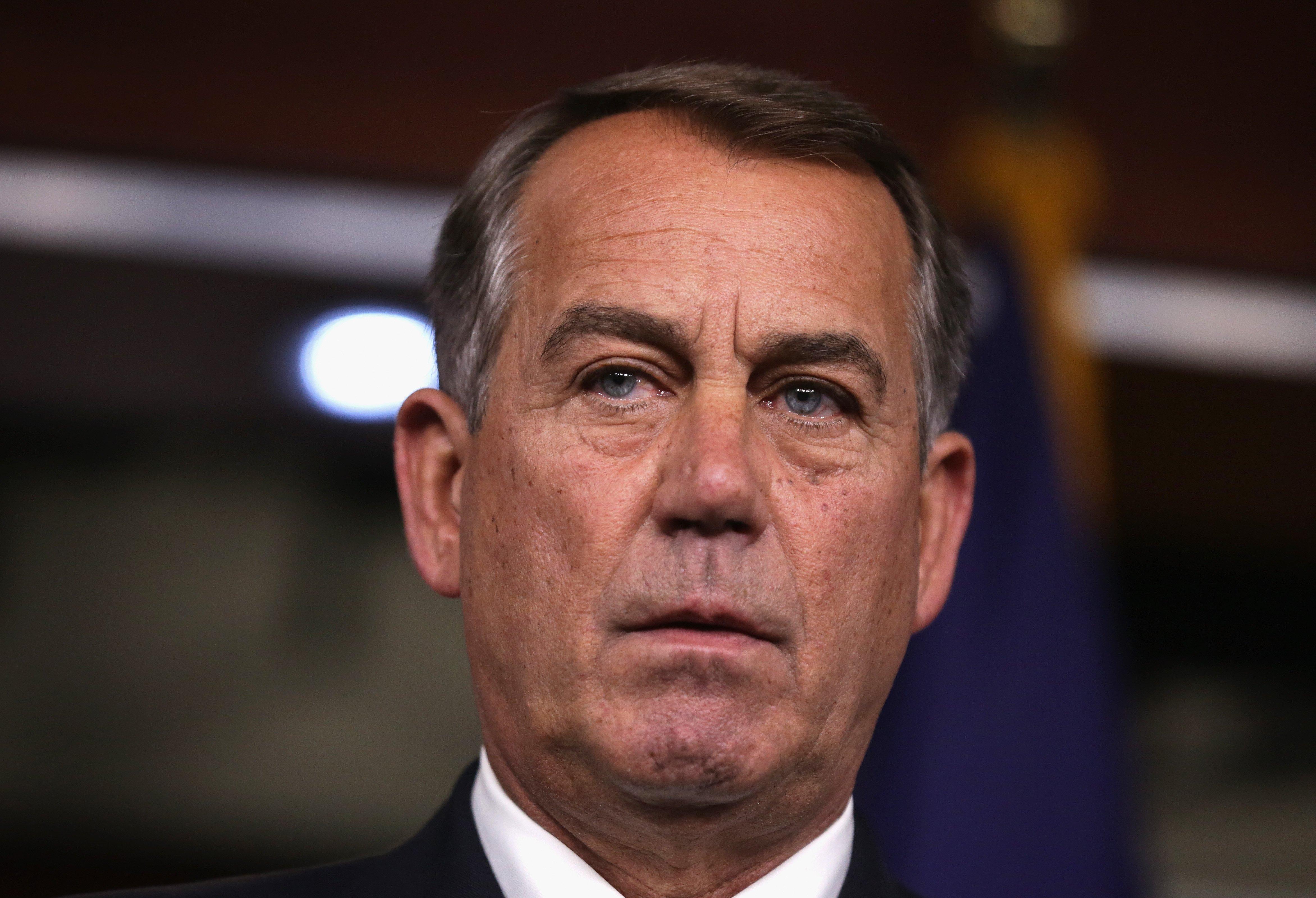 U.S. Speaker of the House Rep. John Boehner speaks during a news conference on June 12, 2014 in Washington.