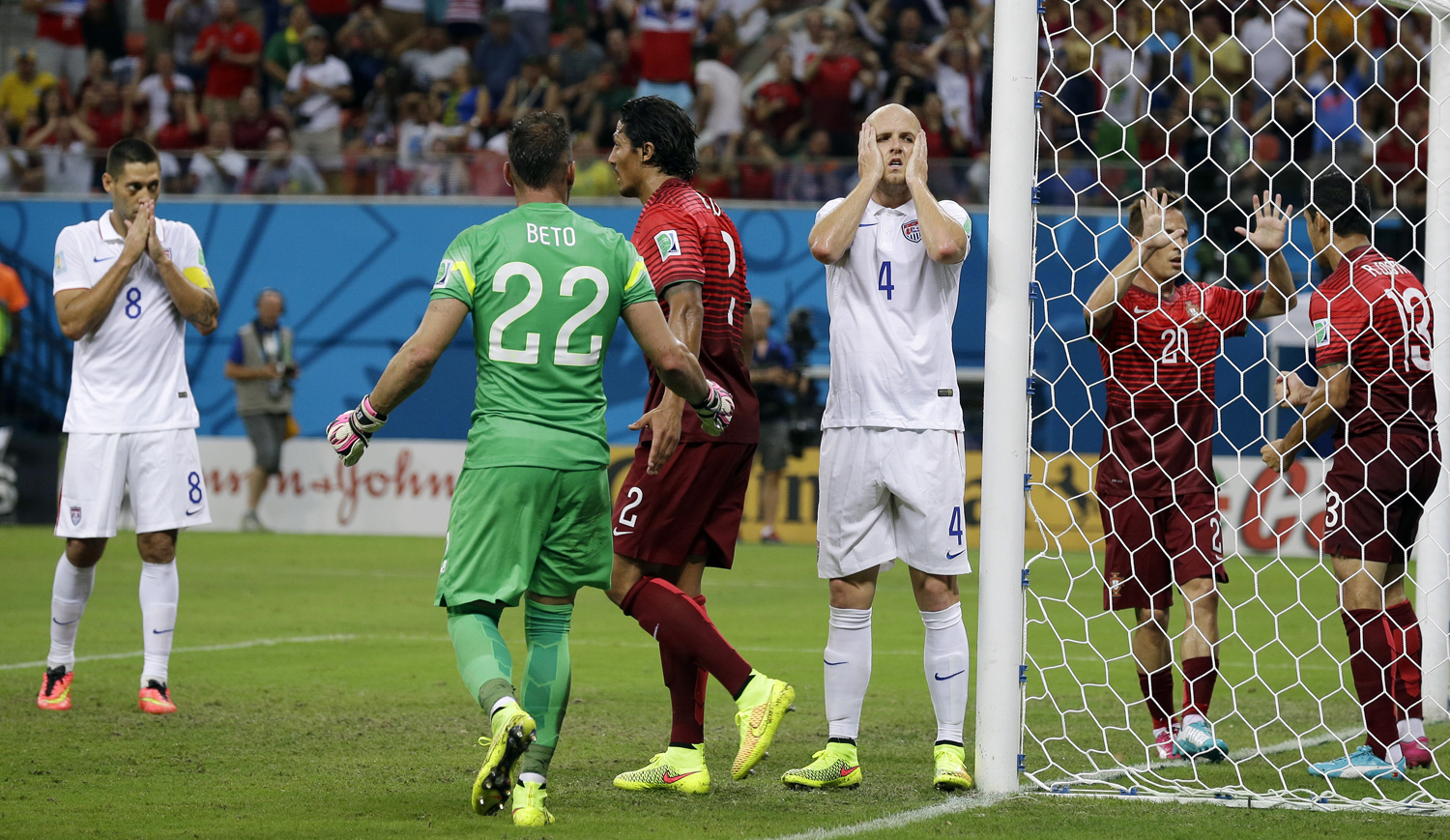 United States' Michael Bradley reacts after his shot on an open goal was blocked by Portugal's Ricardo Costa during the group G World Cup soccer match between the USA and Portugal in Manaus, Brazil on  June 22, 2014.