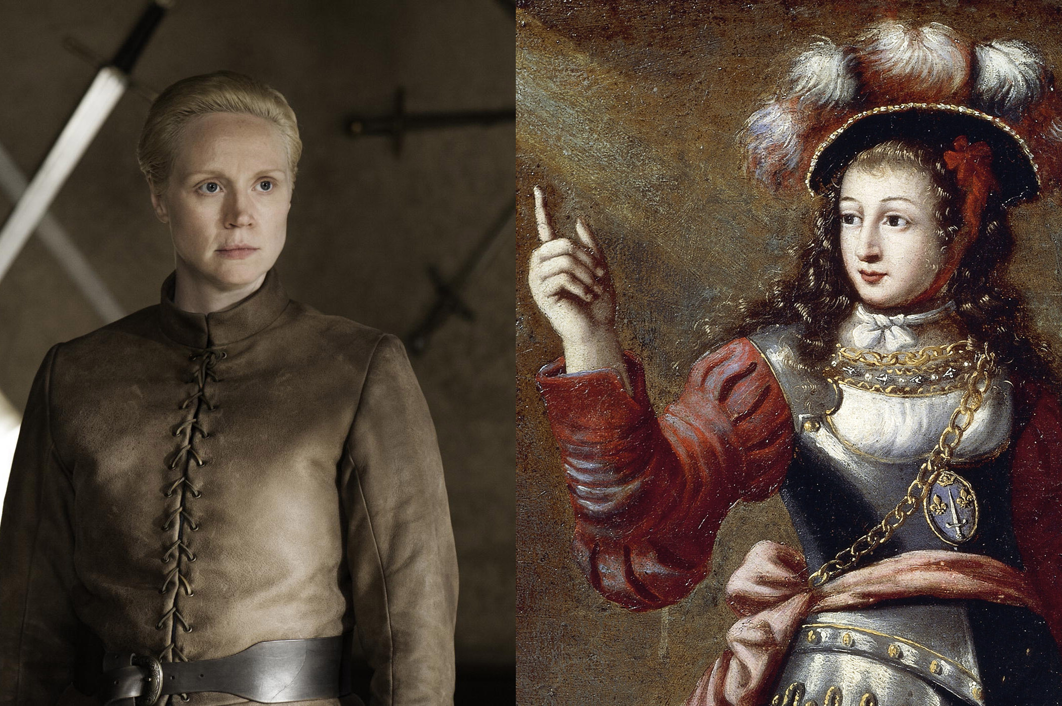 From left: Brienne of Tarth and Joan of Arc.