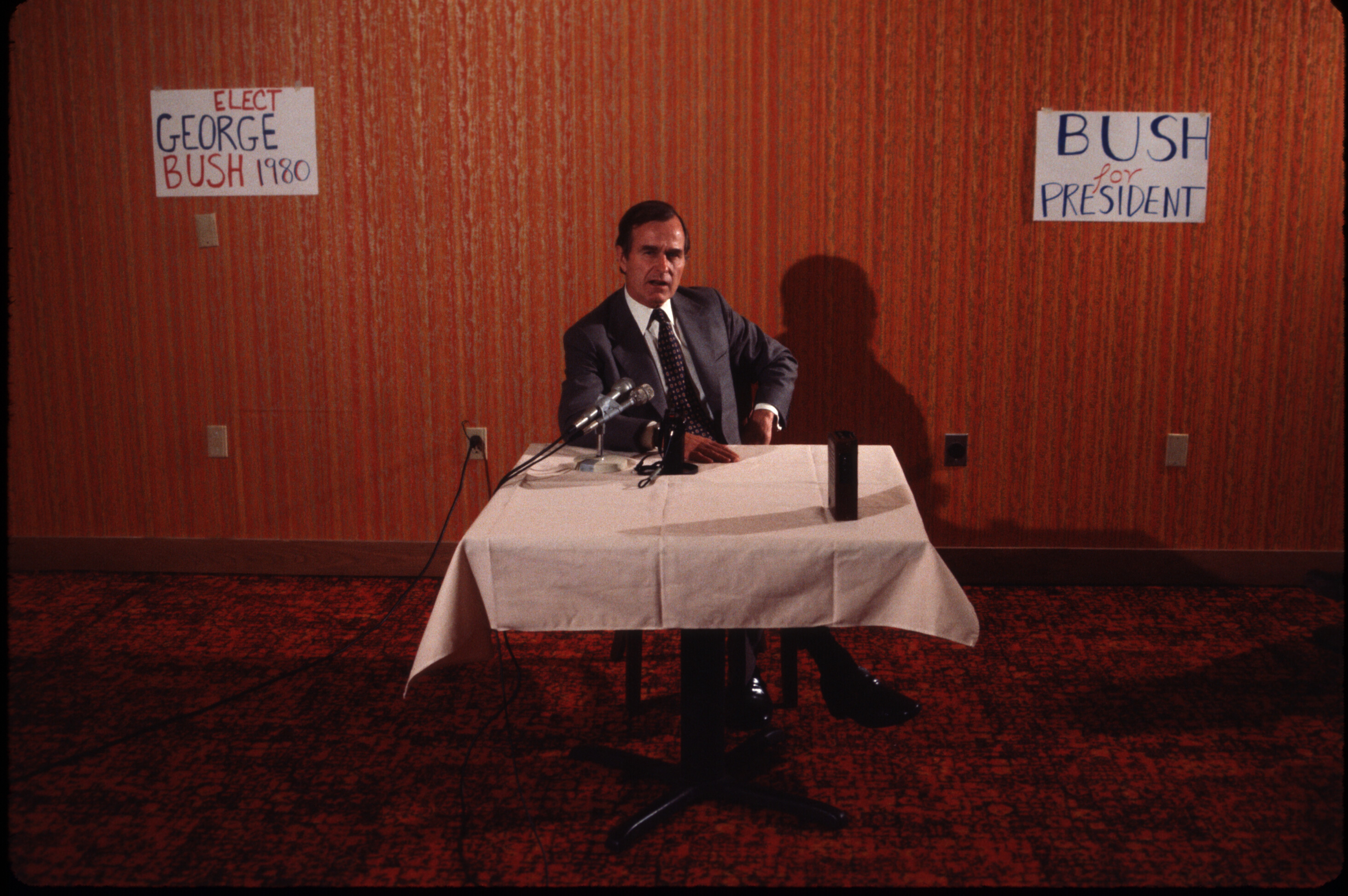 Republican Presidential candidate George H.W. Bush campaigning for the presidential primary elections in 1980.