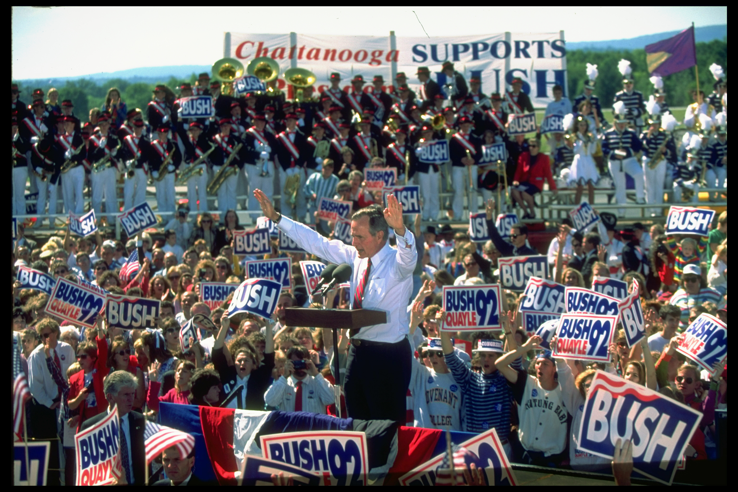 President George H.W. Bush addressing a crowd at a campaign rally on September 29, 1992.
